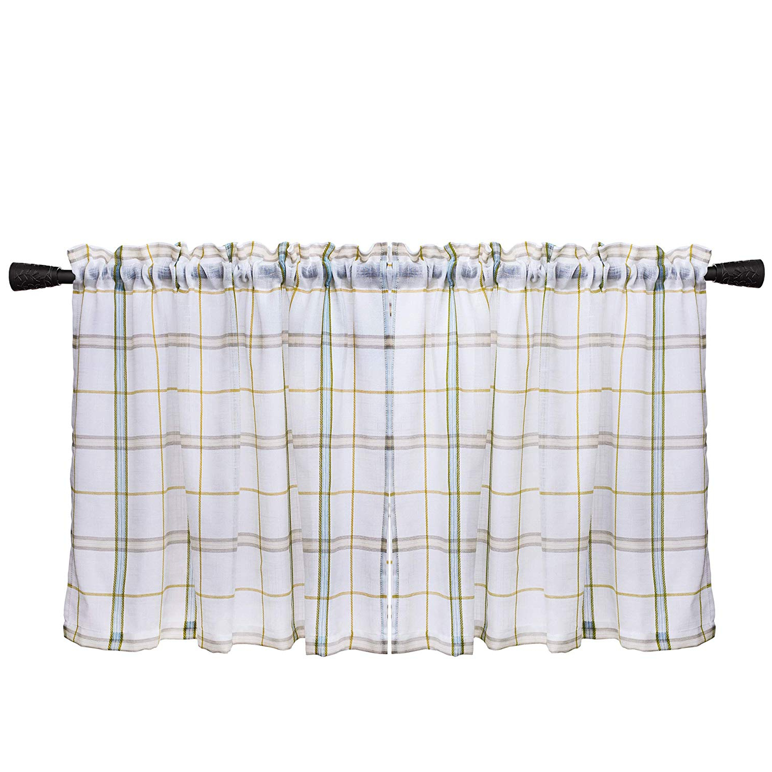 Most Recently Released Classic Black And White Curtain Tiers In Amazon: White Check Kitchen Tiers, Linen Look Gingham (View 6 of 20)