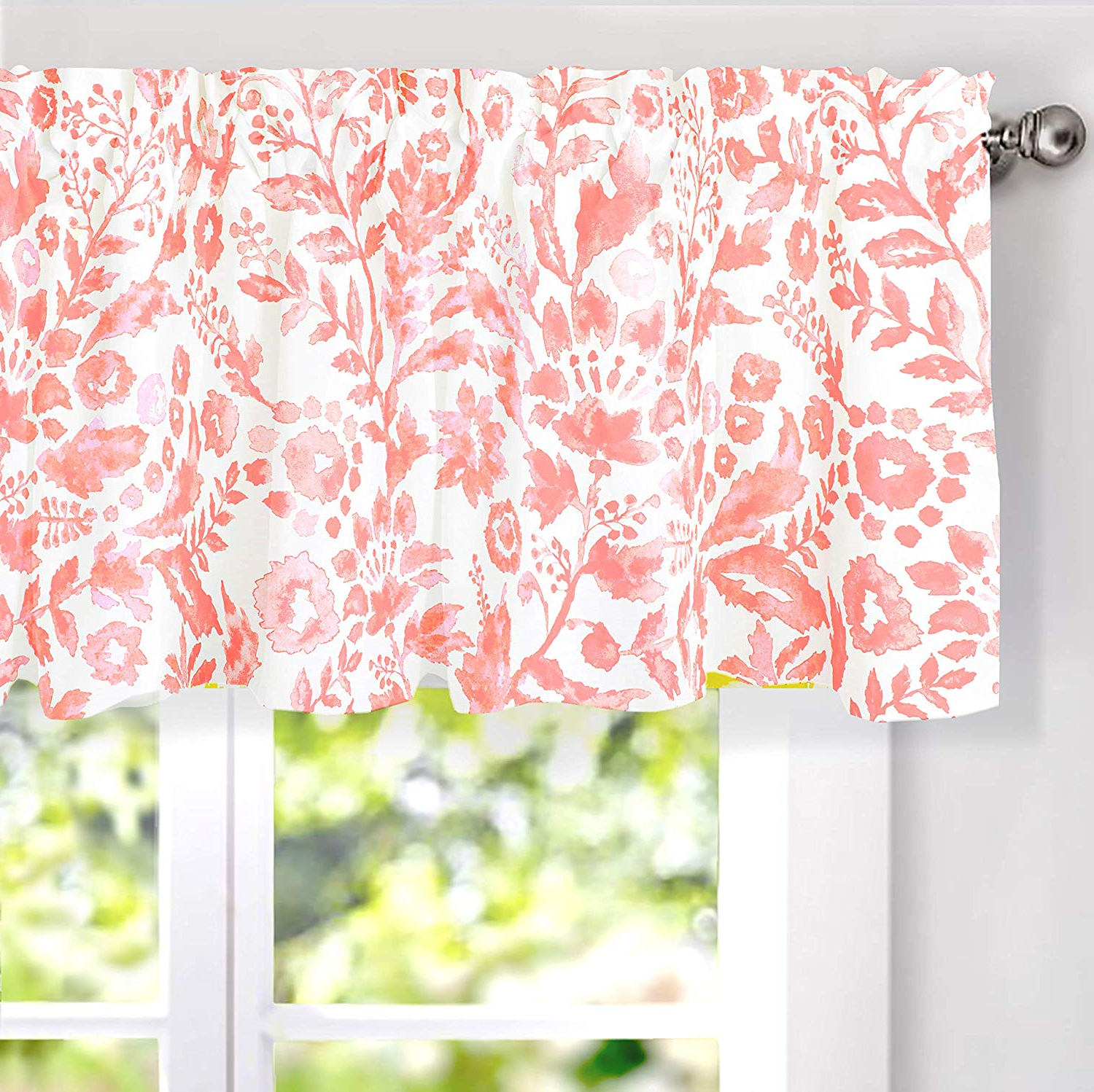 Most Recently Released Driftaway Julia Watercolor Blooming Flower Floral Lined Thermal Insulated  Energy Saving Window Curtain Valance For Living Room Bedroom 2 Layers Rod Pertaining To Floral Watercolor Semi Sheer Rod Pocket Kitchen Curtain Valance And Tiers Sets (Gallery 6 of 20)