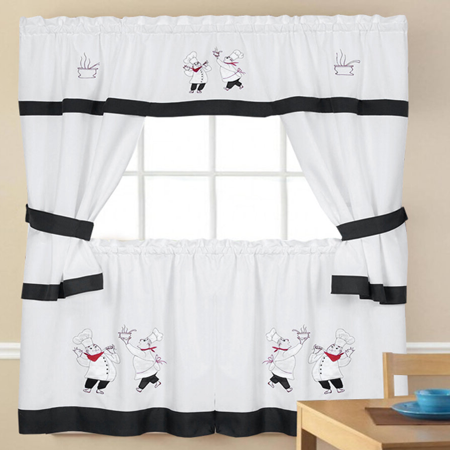 Most Recently Released Embroidered Chef Black 5 Piece Kitchen Curtain Sets Pertaining To Chesson Kitchen Curtain (Gallery 7 of 20)