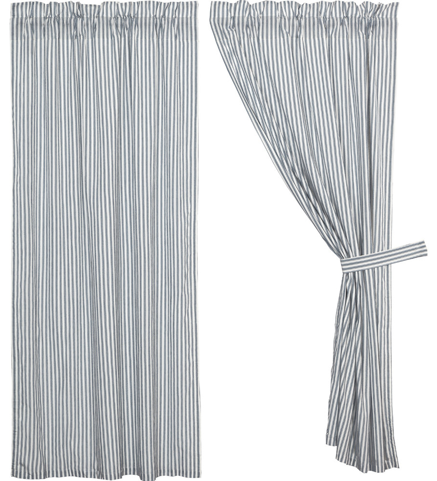 Most Recently Released Farmhouse Curtains Miller Farm Ticking Stripe Panel Rod Pocket Cotton, Set Of 2 Intended For Rod Pocket Cotton Striped Lace Cotton Burlap Kitchen Curtains (View 19 of 20)