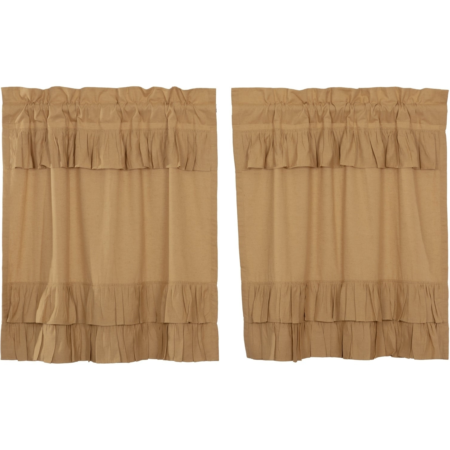 Most Recently Released Farmhouse Kitchen Curtains Vhc Simple Life Flax Tier Pair Rod Pocket Cotton  Linen Blend Solid Color Flax Inside Simple Life Flax Tier Pairs (View 7 of 20)