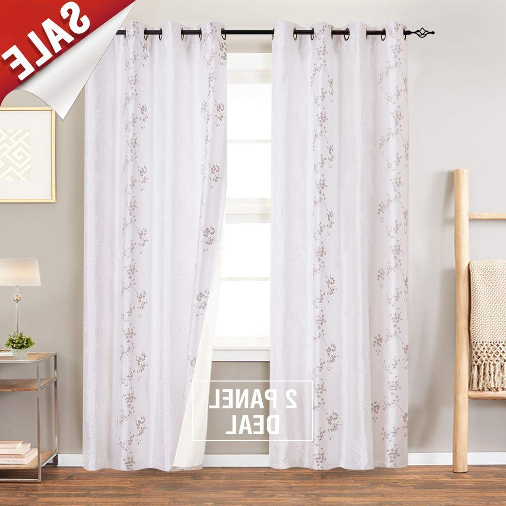 "Most Recently Released Jinchan Faux Silk Floral Embroidered Sheer Curtains For Bedroom Embroidery Curtain For Living Room, 2 Panels, 84"" White Pertaining To Floral Embroidered Faux Silk Kitchen Tiers (View 5 of 20)"