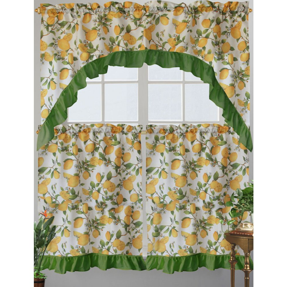 Most Recently Released Kashi Home Cece Kitchen Curtain Swag Set, Lemon Printed Design Within Lemon Drop Tier And Valance Window Curtain Sets (View 5 of 20)