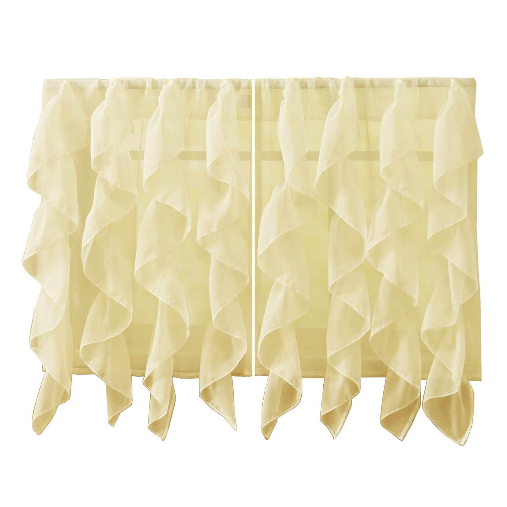 Most Recently Released Maize Vertical Ruffled Waterfall Valance And Curtain Tiers Intended For Sweet Home Collection Maize Vertical Ruffled Waterfall Valance And Curtain Tiers (View 5 of 20)