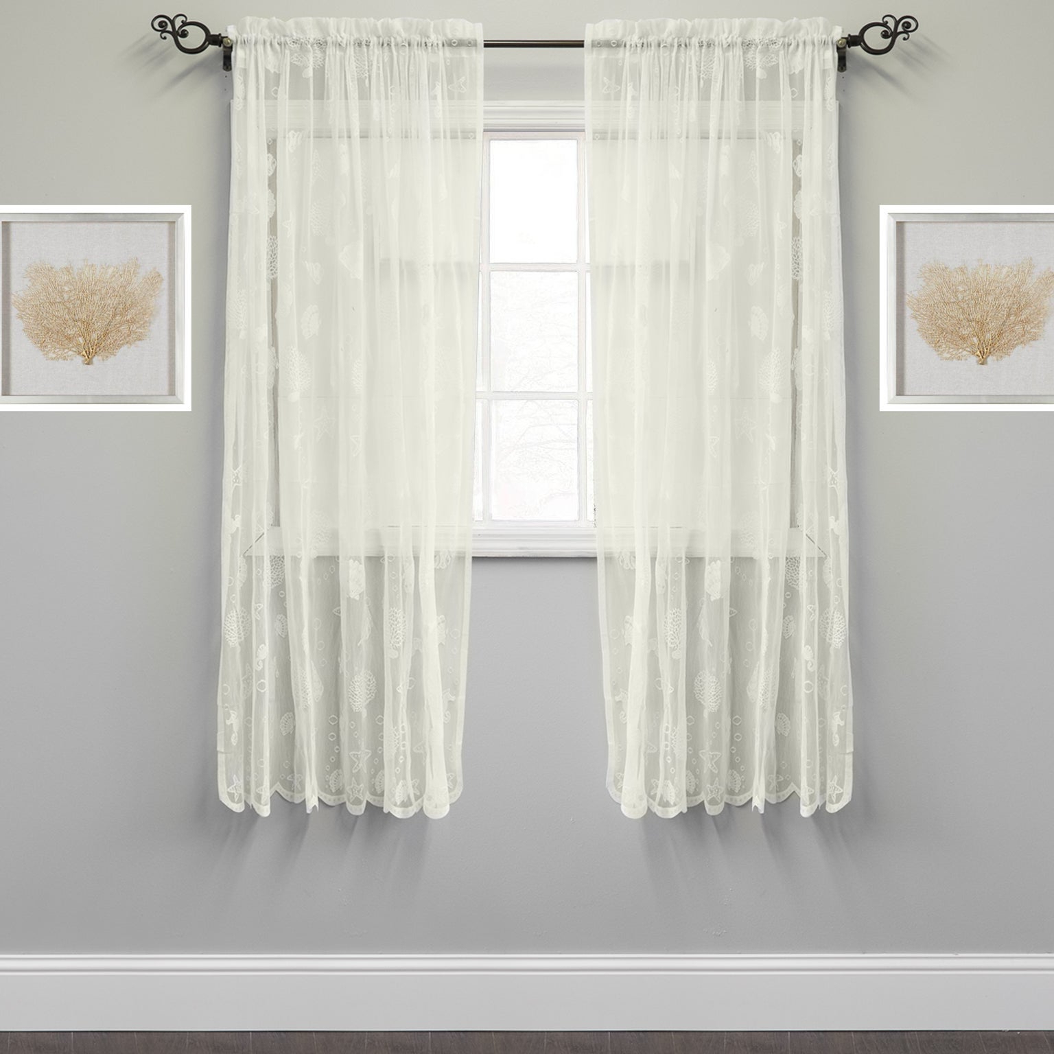 Most Recently Released Marine Life Motif Knitted Lace Window Curtain Panel With Regard To Marine Life Motif Knitted Lace Window Curtain Pieces (Gallery 5 of 20)