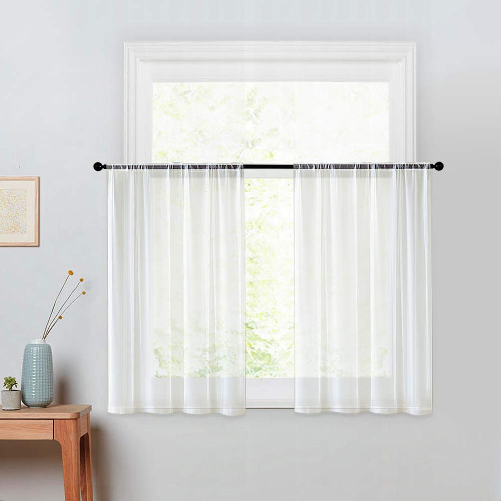 Most Recently Released Mrtrees Kitchen Tier Curtains Sheer 24 Inches Long Window Curtain Tiers  Bathroom Small Window Voile Cafe Curtains Short Sheers Rod Pocket 2 Panels In Semi Sheer Rod Pocket Kitchen Curtain Valance And Tiers Sets (View 7 of 20)