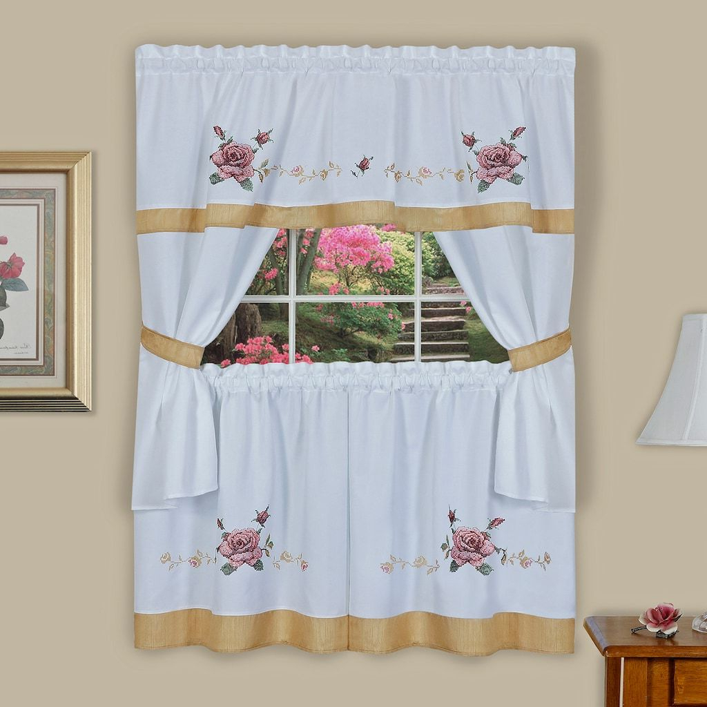 Most Recently Released Multicolored Printed Curtain Tier And Swag Sets Intended For Achim Rose Cross Stitch Embroidered Tier & Swag Valance (Gallery 10 of 20)