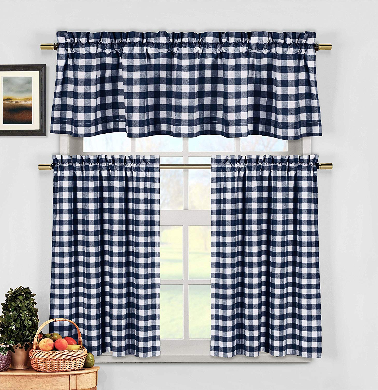 Most Recently Released Navy Blue 3 Piece Gingham Check Kitchen Window Curtain Set: Plaid, Cotton  Rich, 1 Valance, 2 Tier Panels (Matching 3 Piece Window Curtain Set) Within Classic Navy Cotton Blend Buffalo Check Kitchen Curtain Sets (Gallery 1 of 20)