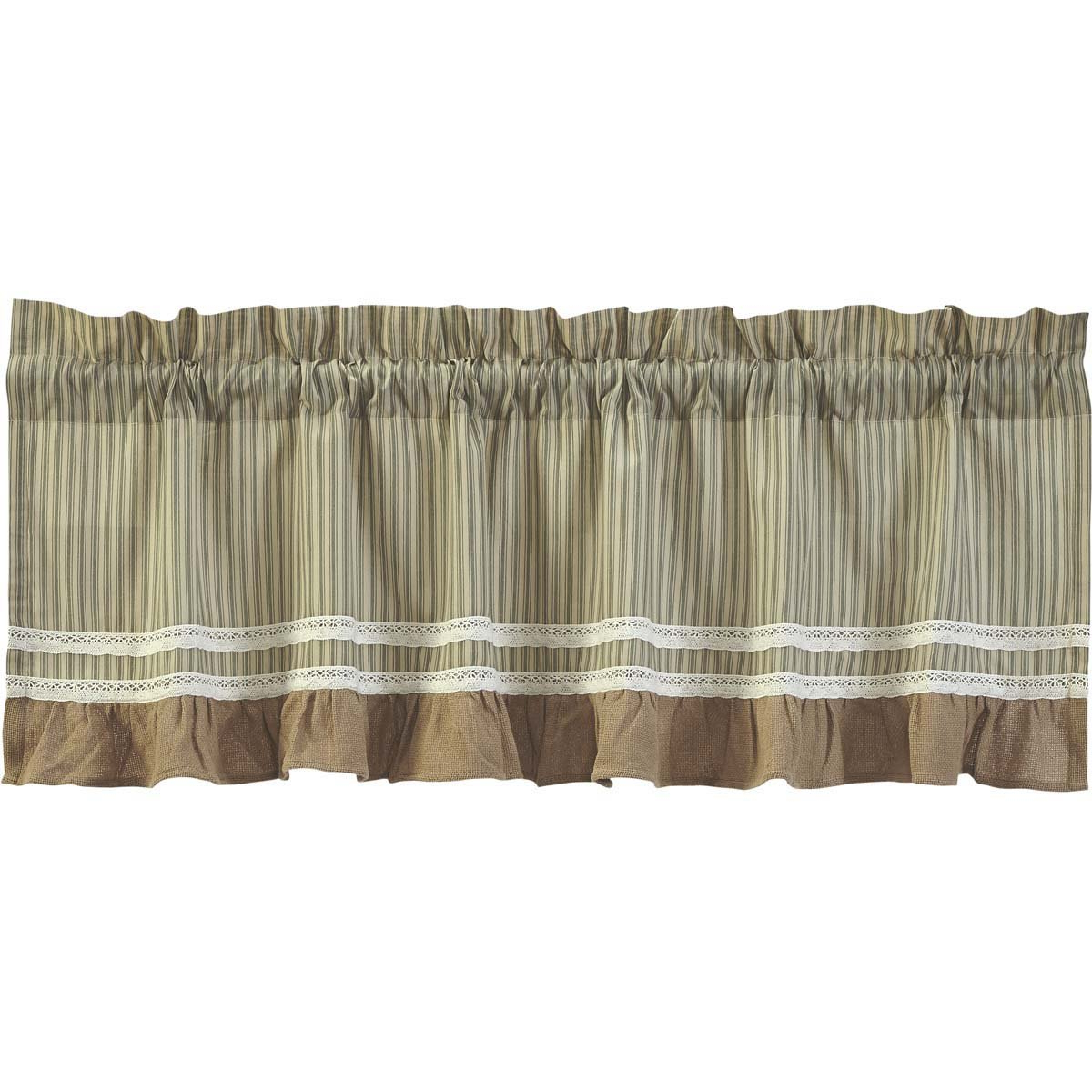 "Most Recently Released Rod Pocket Cotton Striped Lace Cotton Burlap Kitchen Curtains Throughout Vhc Brands Classic Country Farmhouse Kitchen Window Curtains – Kendra Stripe White Valance, 19"" X 90"", Red (View 2 of 20)"