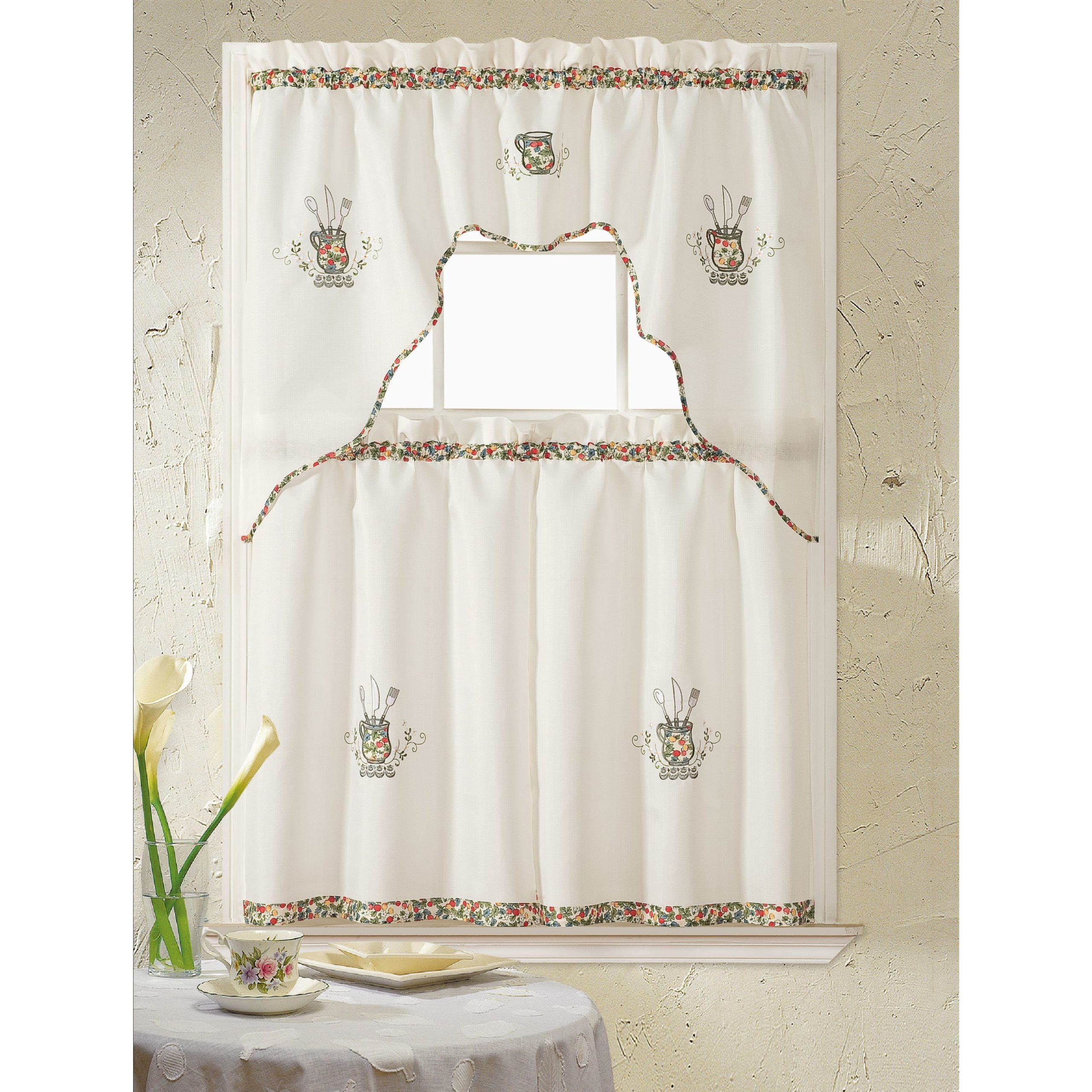 Most Recently Released Rt Designers Collection Grand Silver Embroidered Kitchen Curtain Tier Set Within Imperial Flower Jacquard Tier And Valance Kitchen Curtain Sets (View 13 of 20)