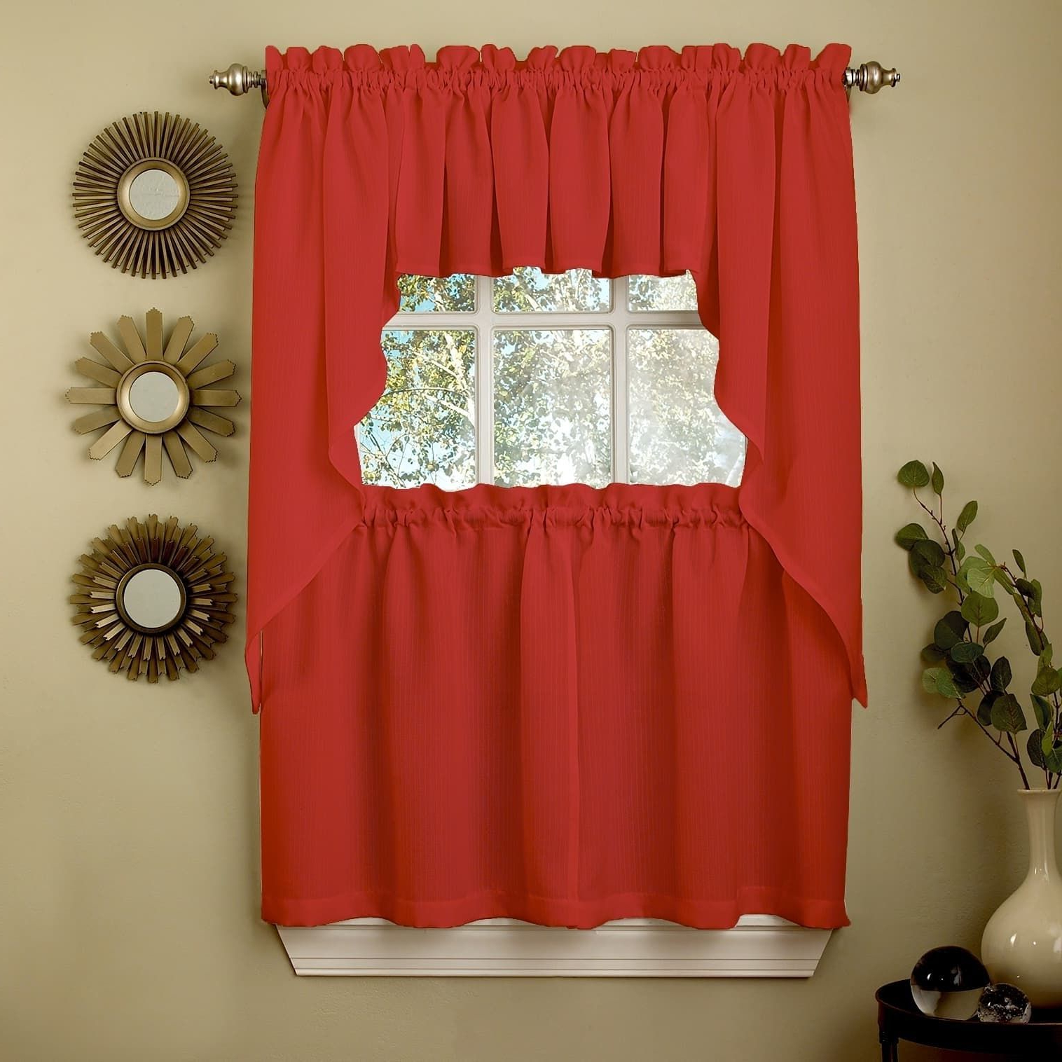 Most Recently Released Scroll Leaf 3 Piece Curtain Tier And Valance Sets Within Sweet Home Collection Opaque Red Ribcord Kitchen Curtain (View 8 of 20)