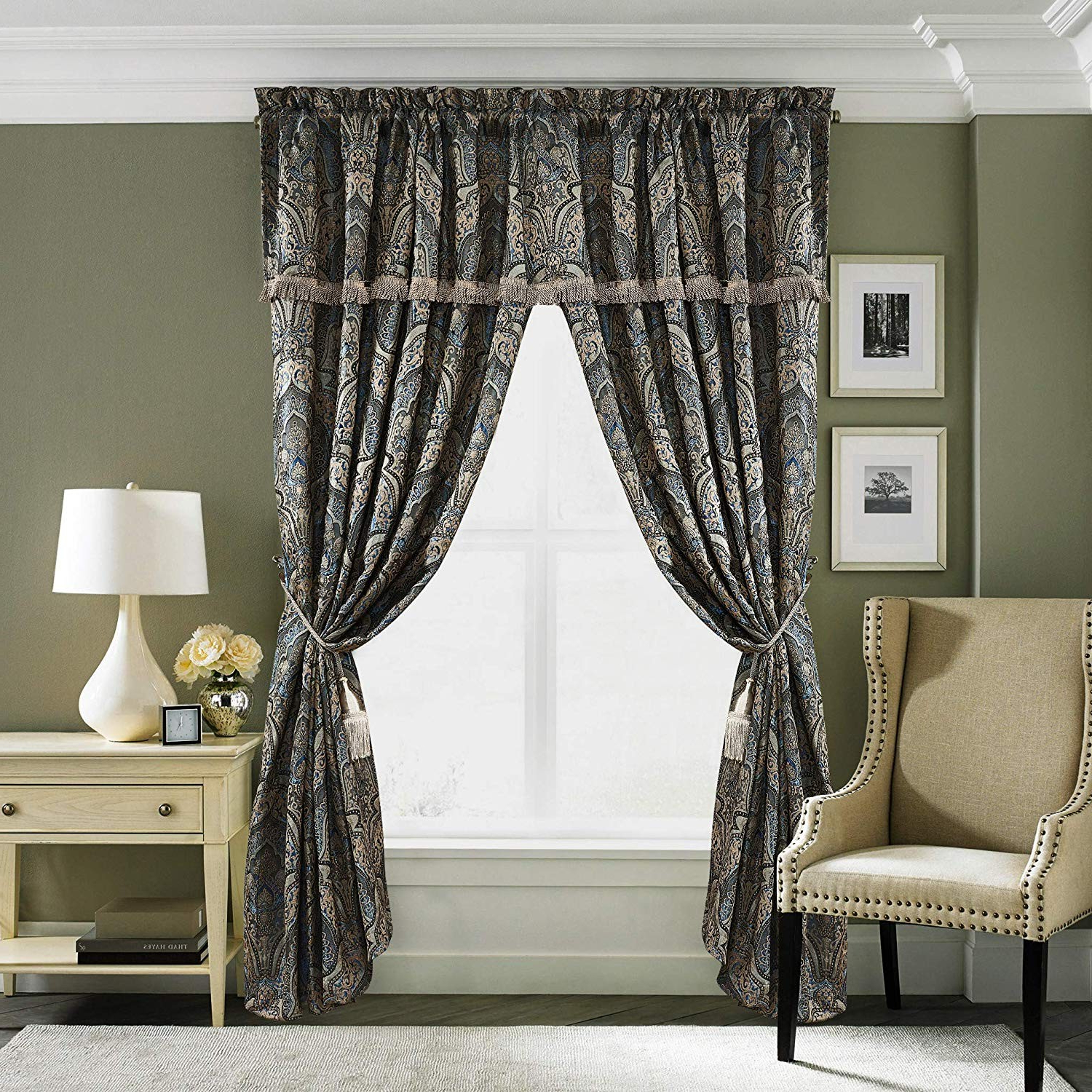 Most Recently Released Seville 4 Piece Jacquard Medallion Paisley Window Curtain Intended For Medallion Window Curtain Valances (View 17 of 20)