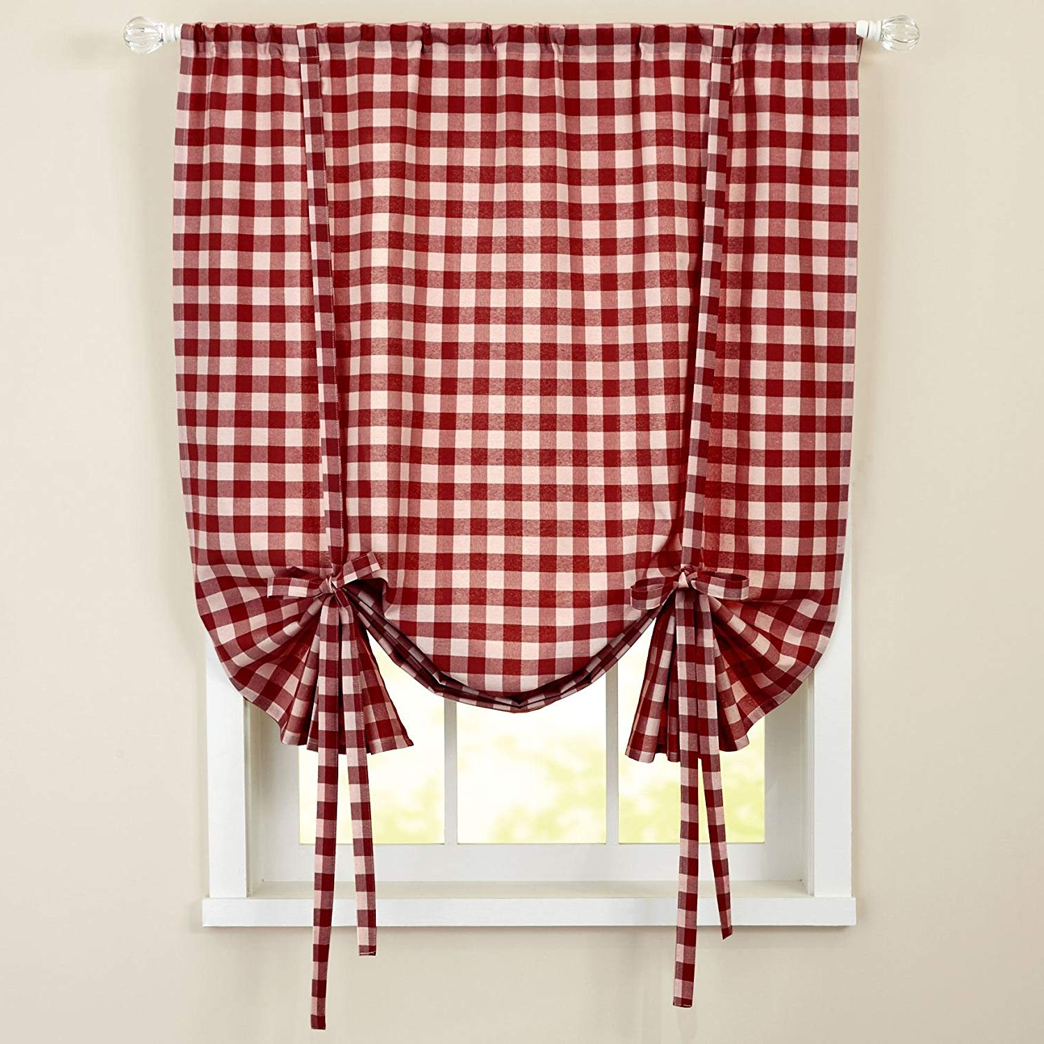 "Most Recently Released Sweet Home Collection Kitchen Window Curtain Panel Treatment Decorative  Buffalo Check Design, 63"", Burgundy With Regard To Burgundy Cotton Blend Classic Checkered Decorative Window Curtains (Gallery 11 of 20)"