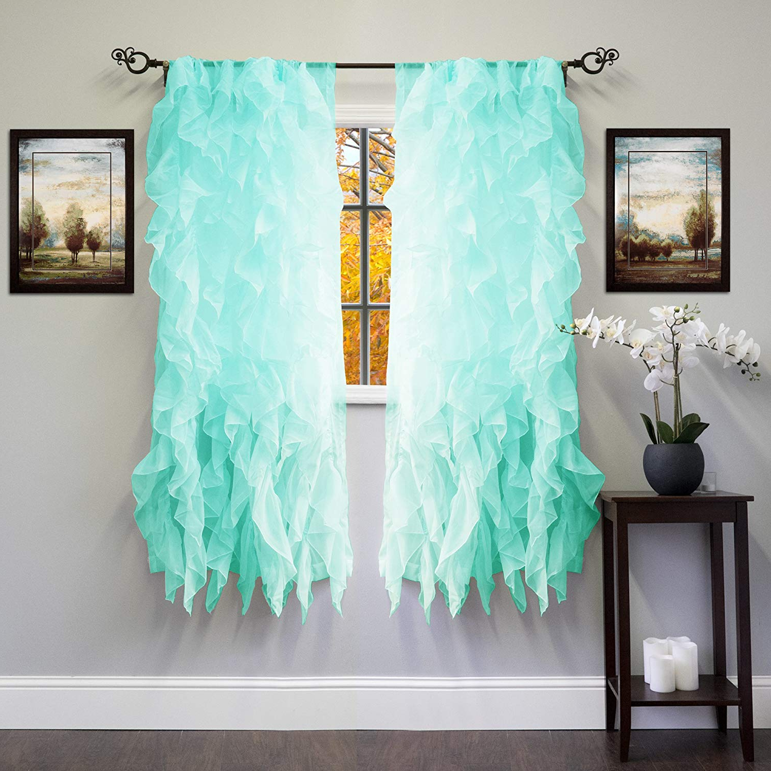 "Most Recently Released Sweet Home Collection Sheer Voile Vertical Ruffled Window Curtain Panel 50"" X 63"", 63"" X 50"", Sea, 2 Piece Regarding Navy Vertical Ruffled Waterfall Valance And Curtain Tiers (Gallery 13 of 20)"
