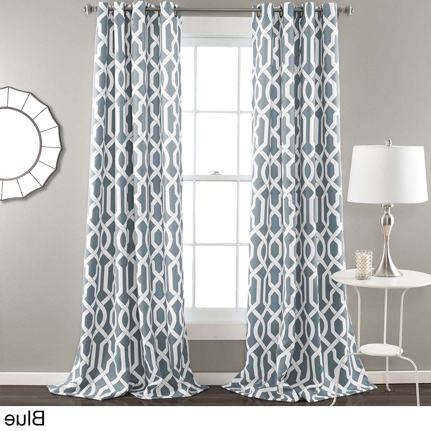 Most Recently Released Trellis Pattern Window Valances Intended For 84 Inch Steel Blue White Moroccan Curtains Panel Pair Set (View 19 of 20)