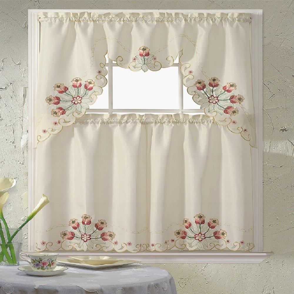 "Most Recently Released Urban Embroidered Tier And Valance Kitchen Curtain Tier Sets In Ophelia & Co. Meier Embroidered 60"" Valance And Tier Set (Gallery 17 of 20)"