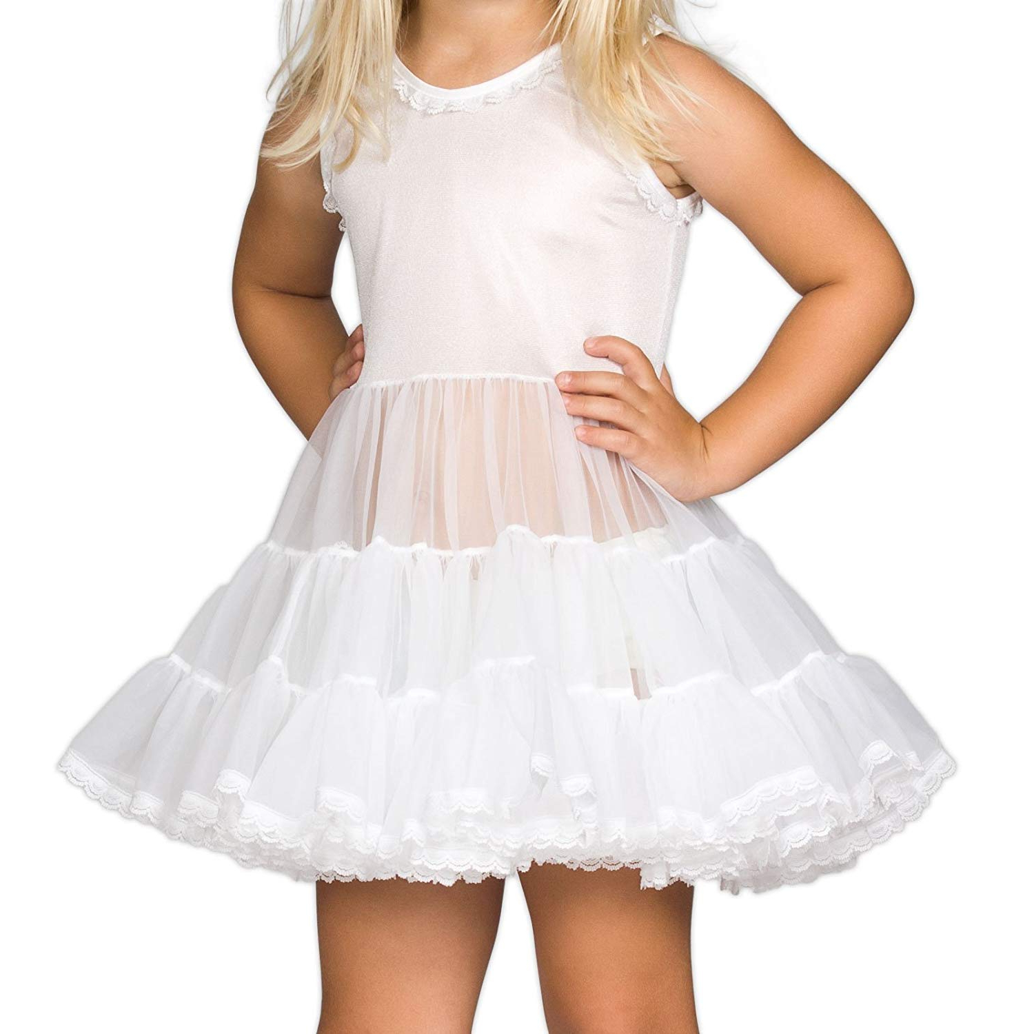 Most Recently Released White Ruffled Sheer Petticoat Tier Pairs Intended For Ic Collections Baby Girls White Bouffant Slip Petticoat, 6m – 24m (View 9 of 20)