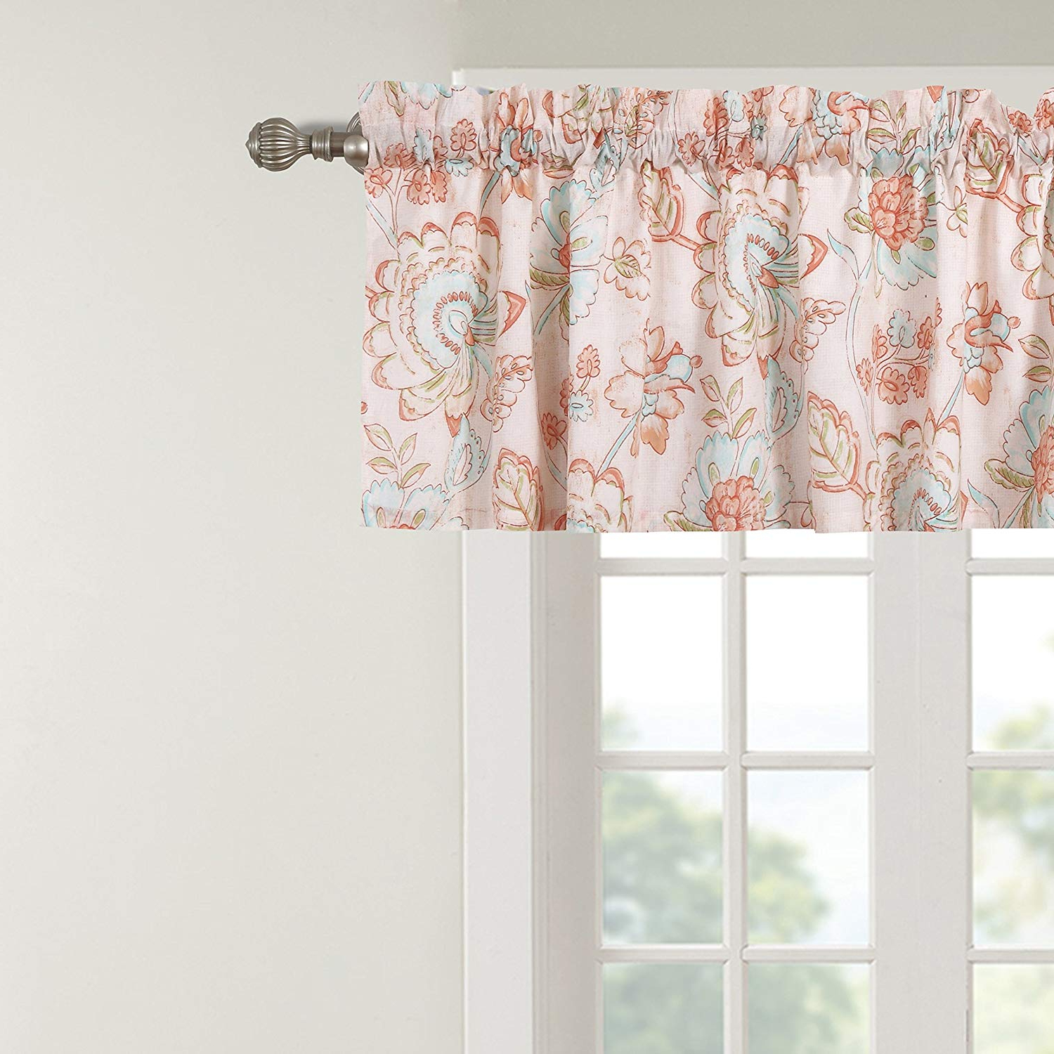 Most Up To Date Amazon: Barefoot Bungalow Cordelia Artisan Floral Block With Floral Pattern Window Valances (View 9 of 20)