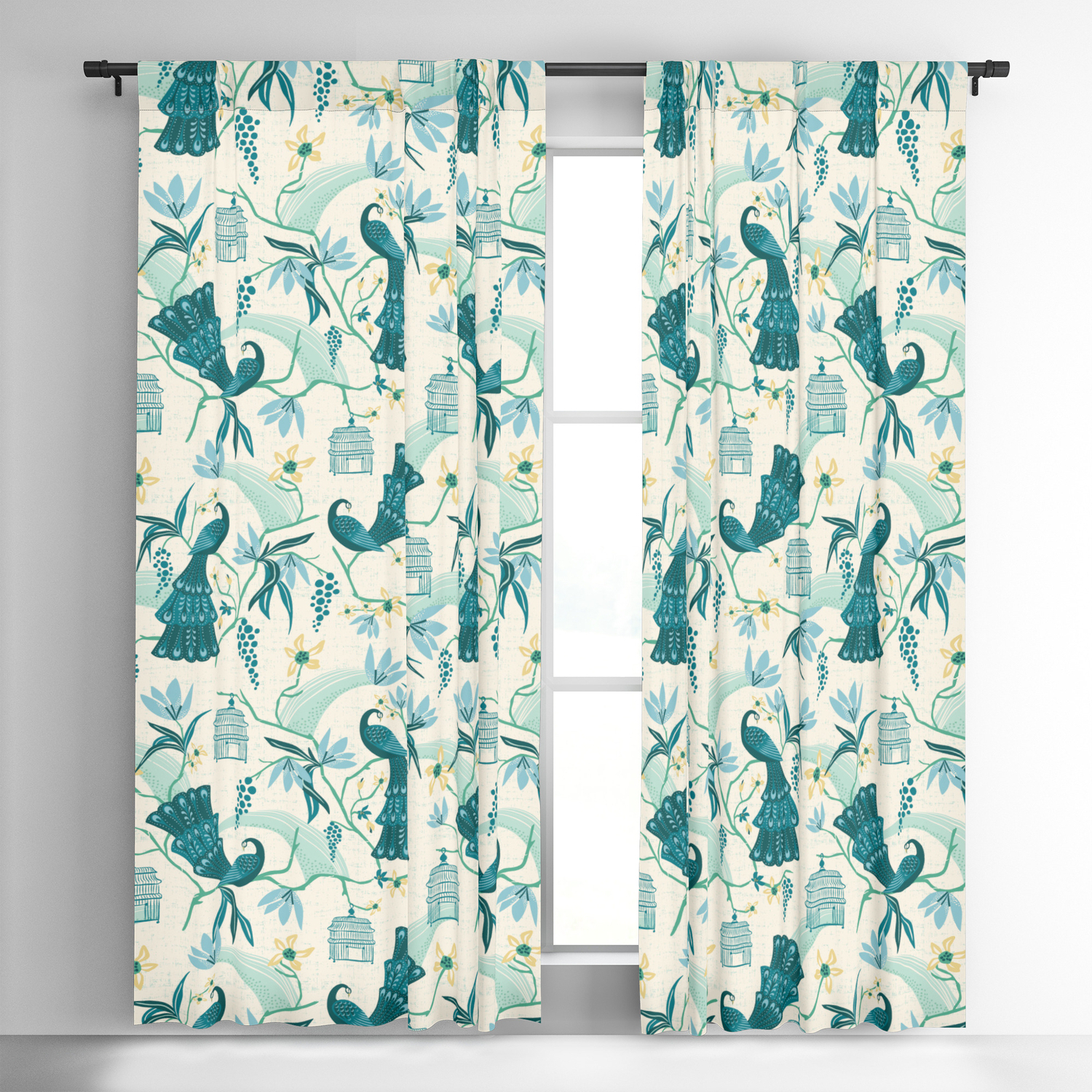 Most Up To Date Aviary Window Curtains For Aviary – Cream Blackout Curtainheatherduttonhangtightstudio (View 5 of 20)