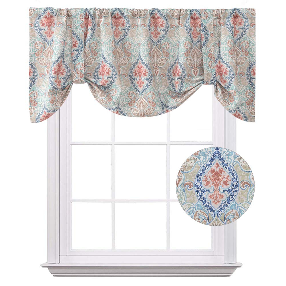 Most Up To Date Damask Printed Tie Up Valances For Windows Multicolor Linen Textured  Adjustable Tie Up Shade Window Curtain Rod Pocket Medallion Tie Up Valance Pertaining To Medallion Window Curtain Valances (Gallery 5 of 20)