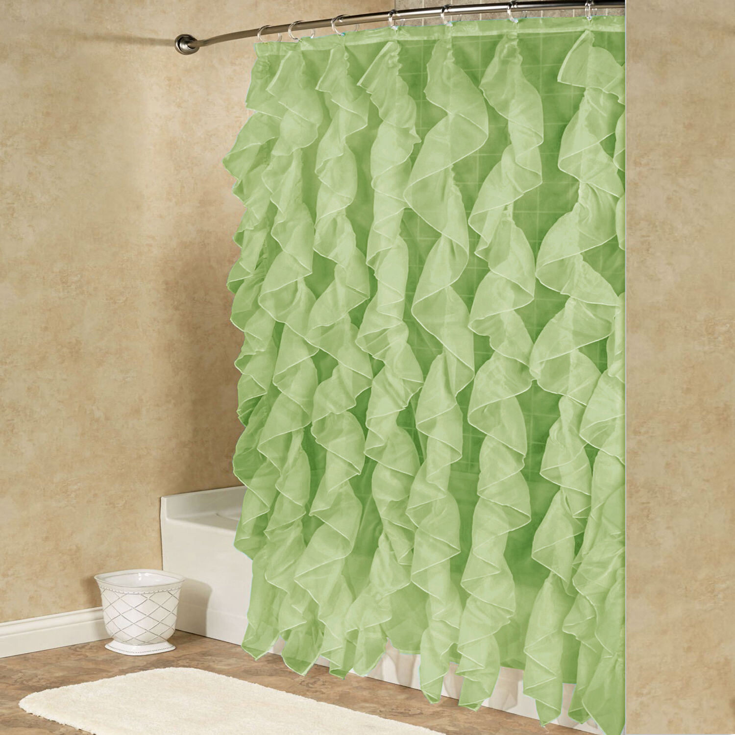 Most Up To Date Fuhrman Chic Sheer Voile Vertical Waterfall Ruffled Single Hooks Shower Curtain Intended For Chic Sheer Voile Vertical Ruffled Window Curtain Tiers (View 13 of 20)