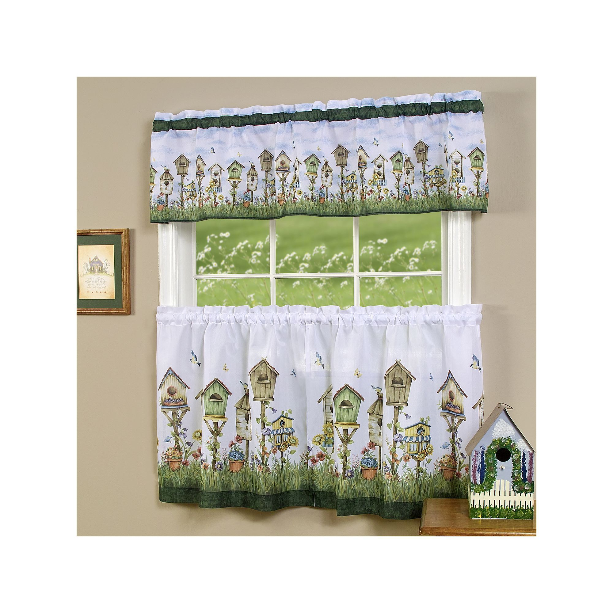 Most Up To Date Home Sweet Home Bird House 3 Piece Tier & Valance Kitchen Throughout Traditional Tailored Tier And Swag Window Curtains Sets With Ornate Flower Garden Print (View 9 of 20)