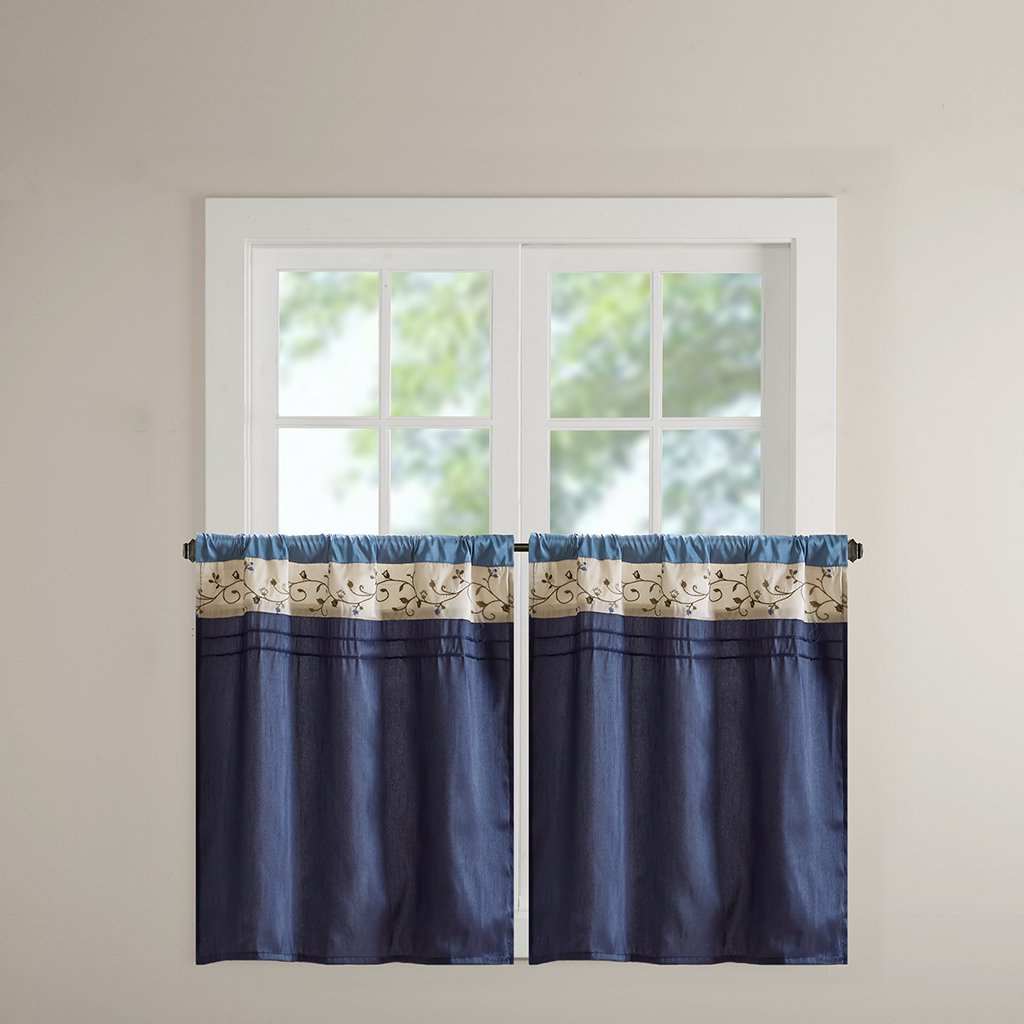 Most Up To Date Madison Park Serene Embroidered Tier Set 2 Pieces Kitchen Curtains With Rod Pocket Finished, 30X36, Navy For Serene Rod Pocket Kitchen Tier Sets (View 10 of 20)