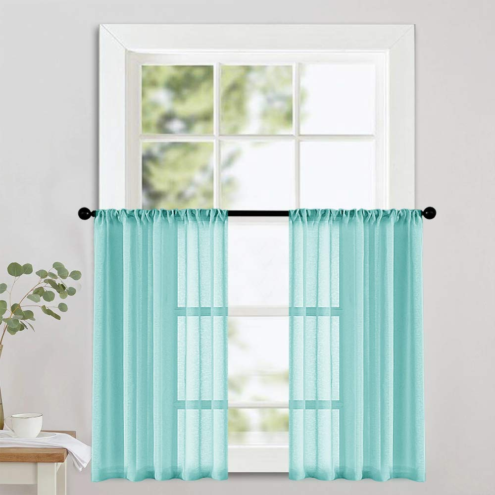 Most Up To Date Mrtrees Sheer Tier Curtains Aqua Blue Kitchen Tiers 24 Inch Length Half Window Curtains Light Filtering Cafe Bathroom Small Curtains Rod Pocket In Light Filtering Kitchen Tiers (Gallery 2 of 20)