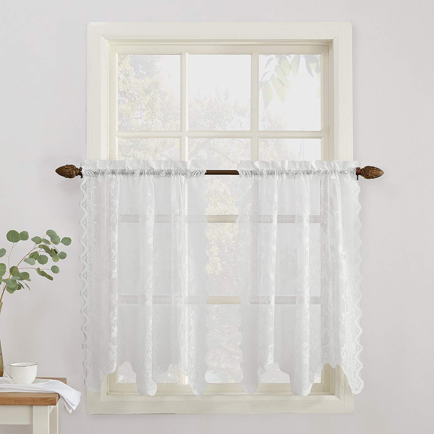 """Most Up To Date No. 918 Alison Floral Lace Sheer Kitchen Curtain Tier Pair, 58"""" X 36"""", White Intended For Sheer Lace Elongated Kitchen Curtain Tier Pairs (Gallery 1 of 20)"""