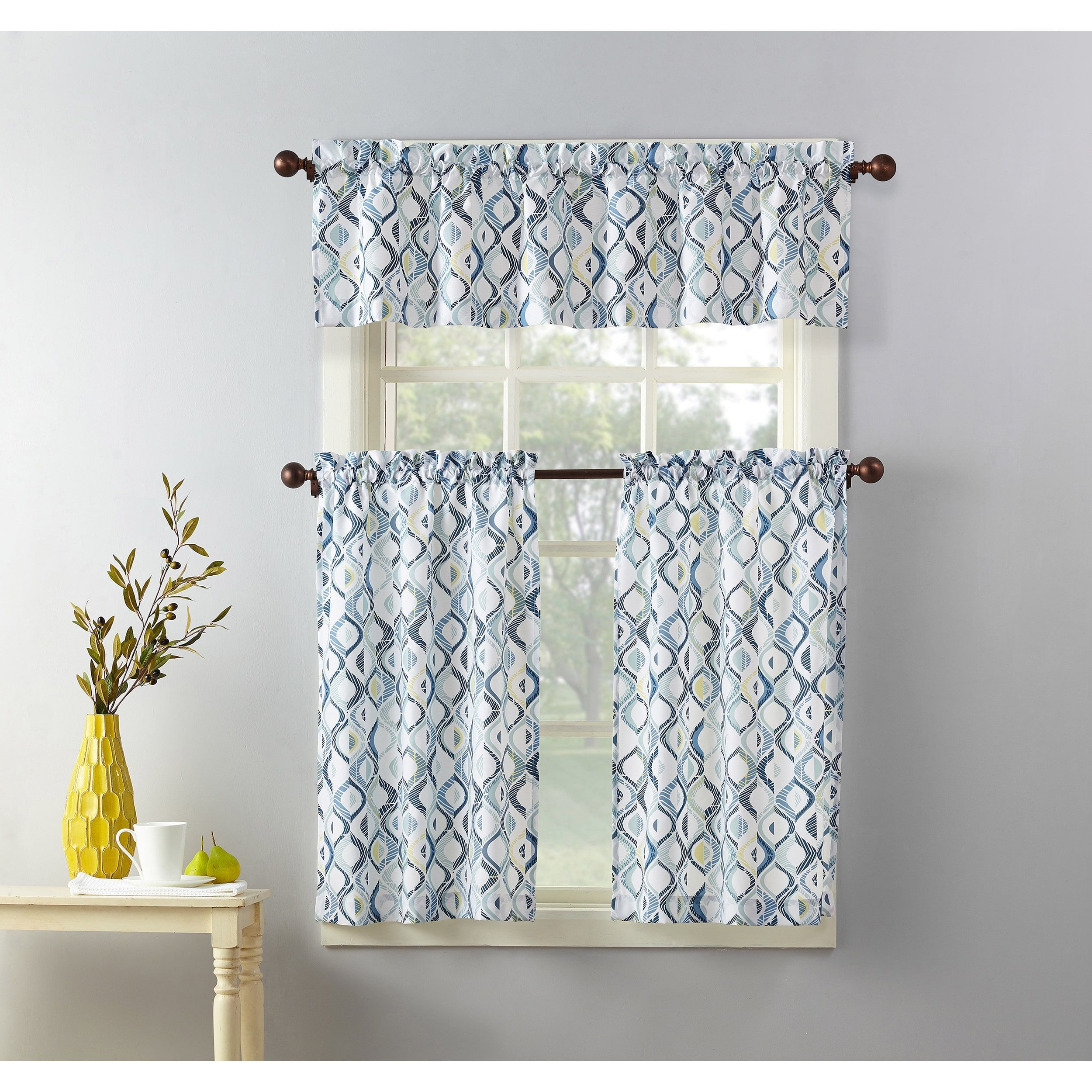 Featured Photo of Geometric Print Microfiber 3 Piece Kitchen Curtain Valance And Tiers Sets