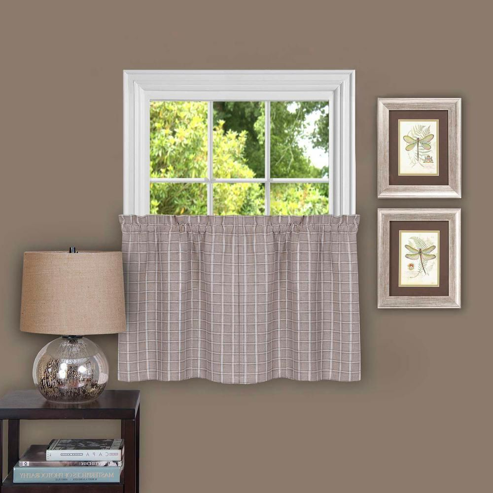 Most Up To Date Oakwood Linen Style Decorative Window Curtain Tier Sets Pertaining To Achim Sheer Sydney Linen Window Curtain Tier Pair – 58 In. W (Gallery 18 of 20)