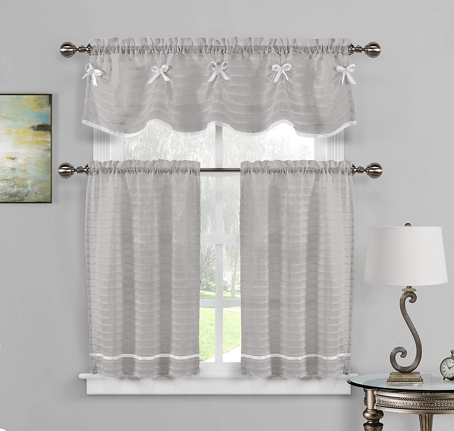 Most Up To Date Pleated Curtain Tiers With 3 Pc Sheer Window Curtain Set: Pleated Stripes With Ribbon, 1 Valance 2 Tiers (Gray White) (Gallery 4 of 20)