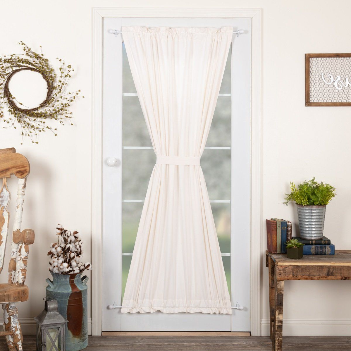 Most Up To Date Simple Life Flax Antique White Lined Door Panel Curtain 72 For Rod Pocket Cotton Linen Blend Solid Color Flax Kitchen Curtains (View 16 of 20)