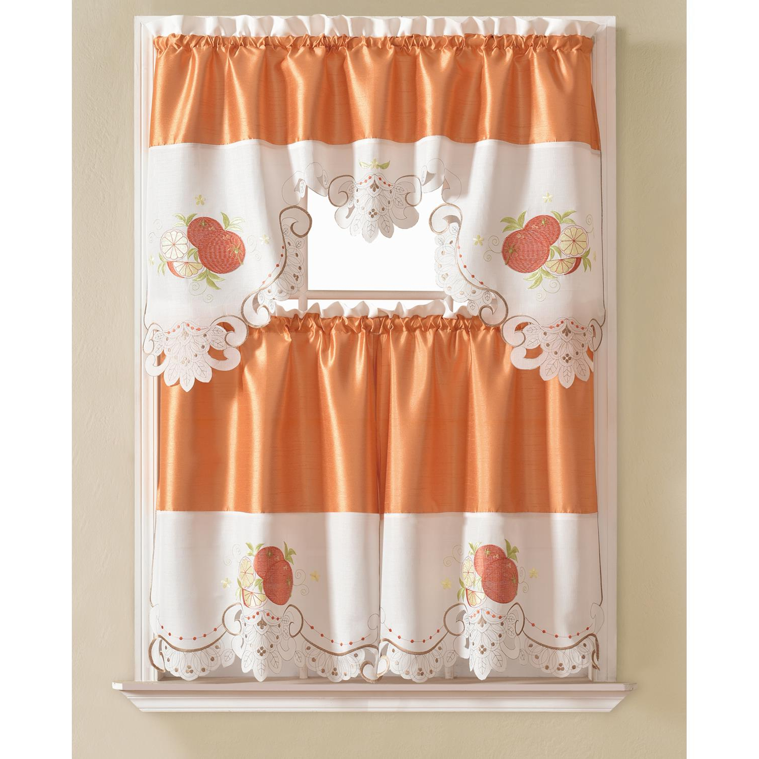 Most Up To Date Urban Embroidered Tier And Valance Kitchen Curtain Tier Sets In Details About Noble Embroidered Orange Tier And Valance Kitchen Curtain Set (Gallery 6 of 20)