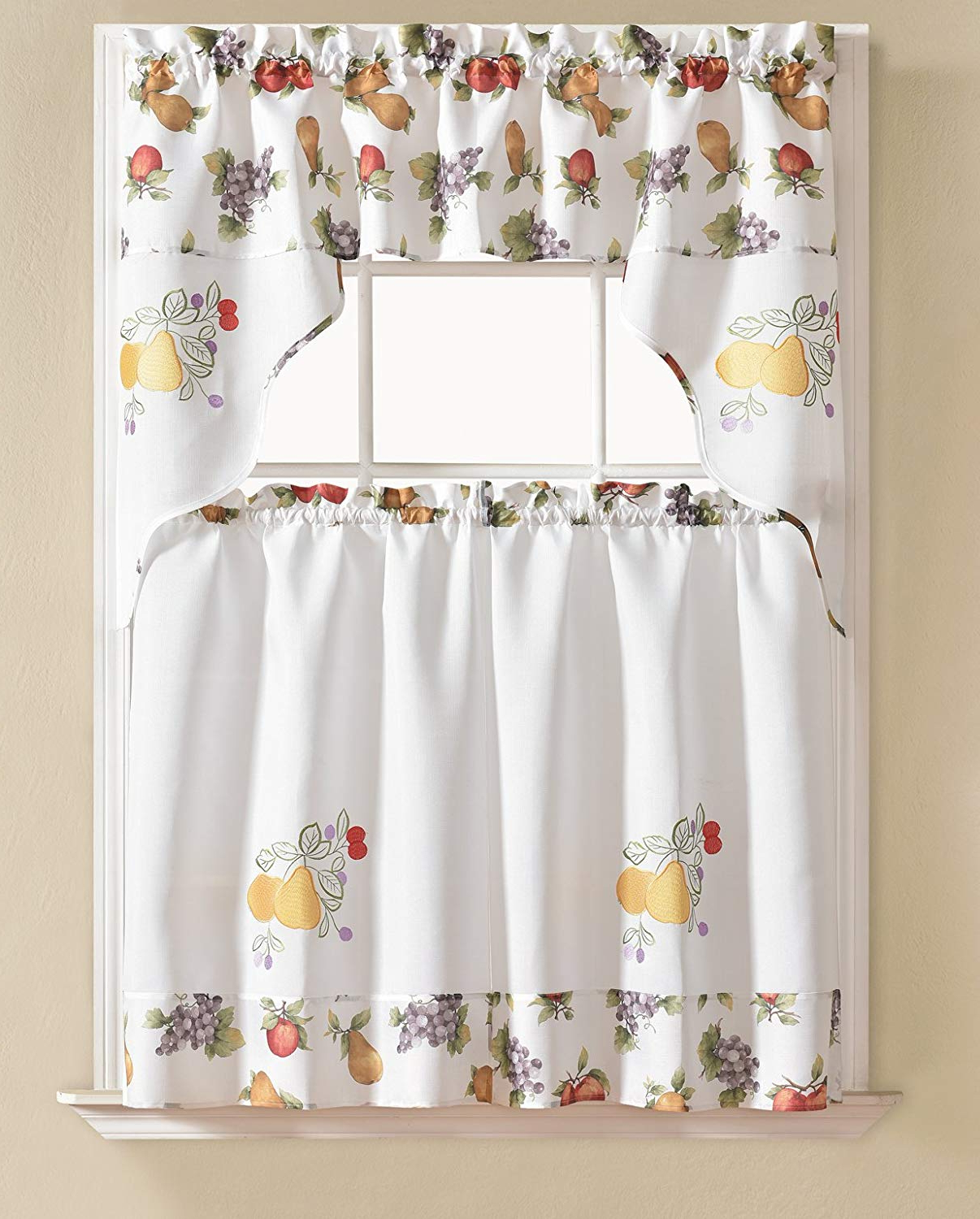 Most Up To Date Urban Embroidered Tier And Valance Kitchen Curtain Tier Sets Regarding Rt Designers Collection Urban Embroidered Tier And Valance Kitchen Curtain Set, Vegetable, (View 2 of 20)