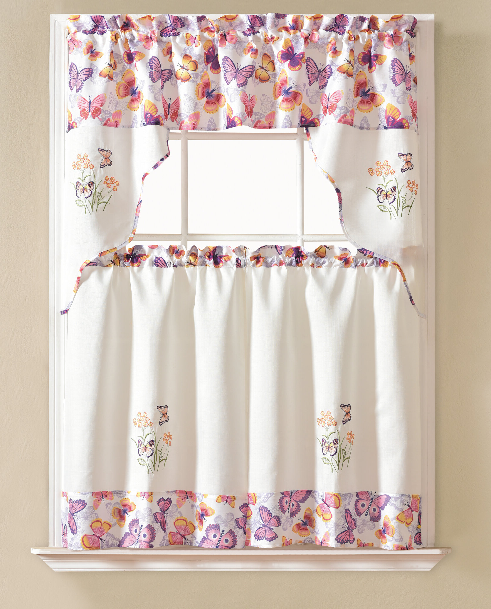 "Most Up To Date Window Curtains Sets With Colorful Marketplace Vegetable And Sunflower Print With Gironde Butterfly 60"" Cafe Curtain (View 14 of 20)"