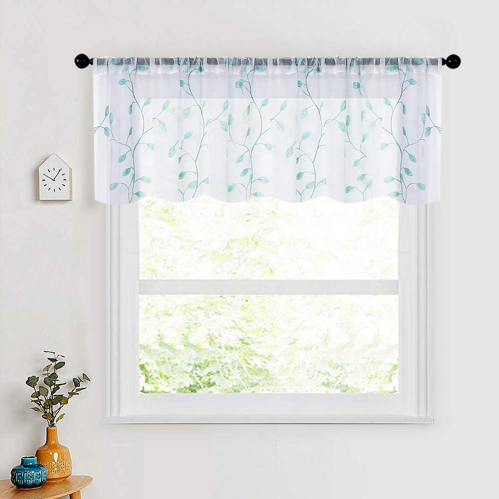 Mrtrees Sheer Curtain Valance Leaves Embroidered 16 Inches Long Small  Curtain Valances Living Room Bedroom Rod Pocket Leaf Embroidery Short  Window Intended For Well Known Floral Watercolor Semi Sheer Rod Pocket Kitchen Curtain Valance And Tiers Sets (View 14 of 20)
