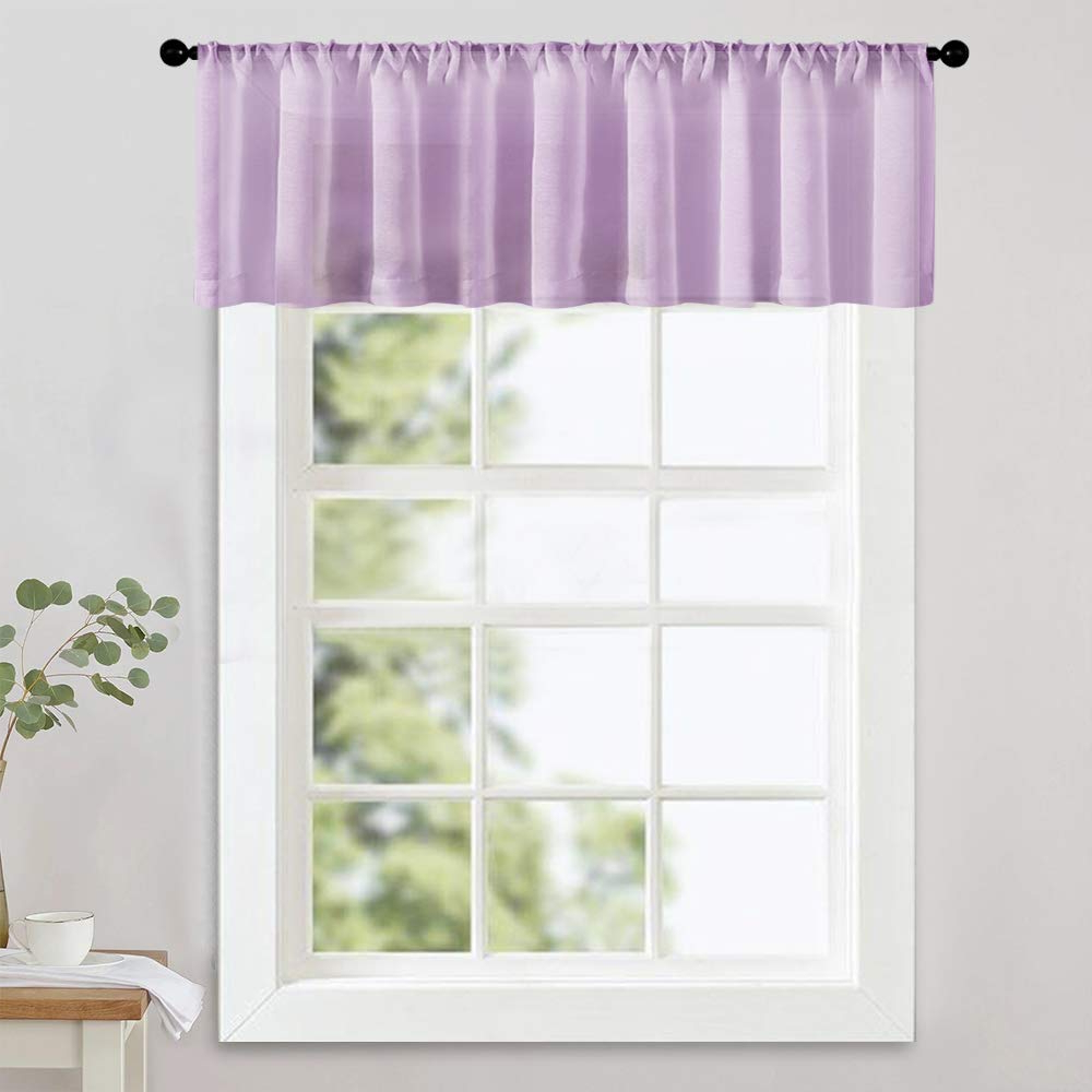 Mrtrees Sheer Valances 16 Inch Living Room Windows Voile Valance Bedroom Curtain Valances Sheer Rod Pocket Window Treatment Light Filtering 1 Panel With Regard To Well Liked Luxury Light Filtering Straight Curtain Valances (View 2 of 20)