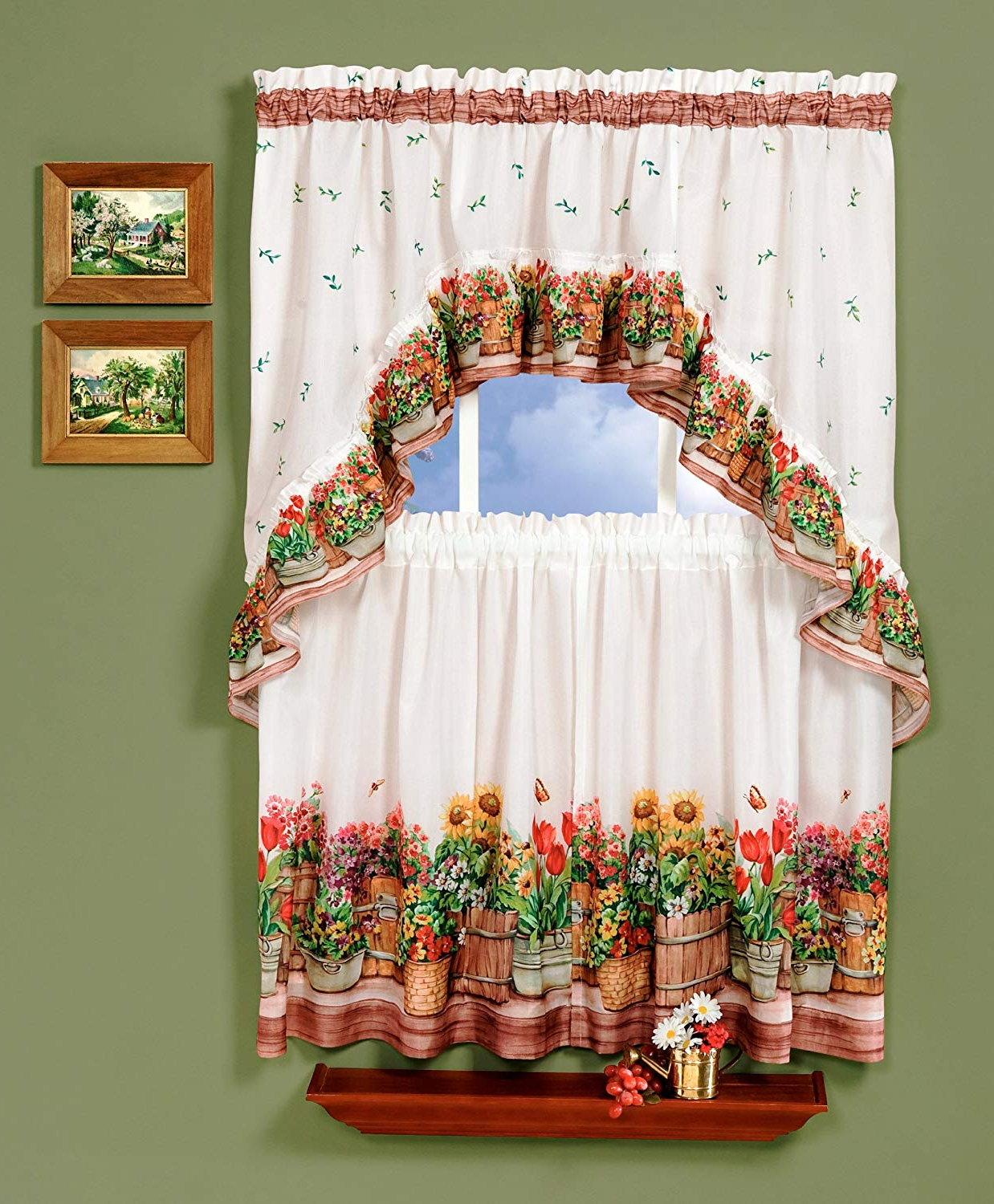 Multicolored Printed Curtain Tier And Swag Sets Inside 2020 Achim Home Furnishings, 57, Multi Country Garden Swag And Tier Kitchen  Curtain Set, 24 Inch, Inch Inch (Gallery 3 of 20)
