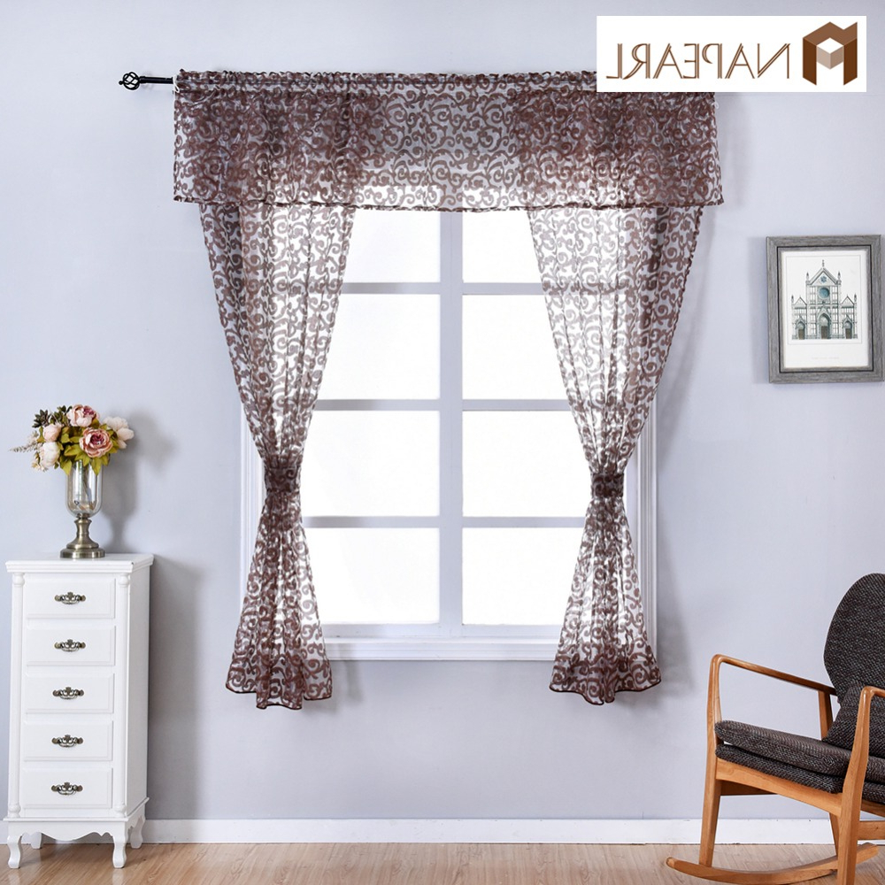 Napearl Classic Floral Kitchen Rod Pocket Curtains Window Valance And Tiers Sheer Short Drapes Jacquard Tulle Bay Window Voile With Popular Semi Sheer Rod Pocket Kitchen Curtain Valance And Tiers Sets (View 14 of 20)