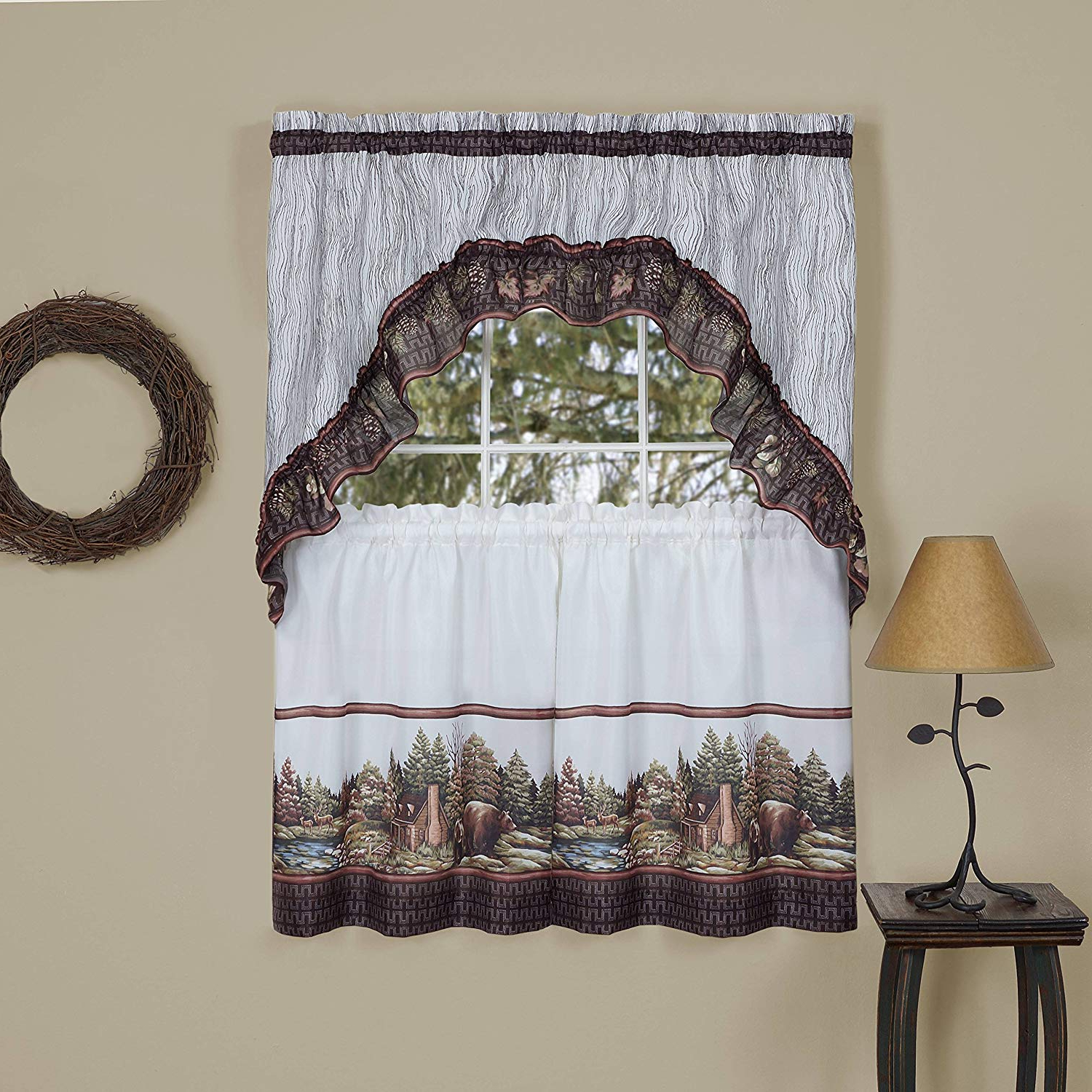 """Naturally Home Forest Friends Kitchen Curtain Tier And Swag Set (57"""" X 36"""") Throughout Most Recent Forest Valance And Tier Pair Curtains (View 2 of 20)"""