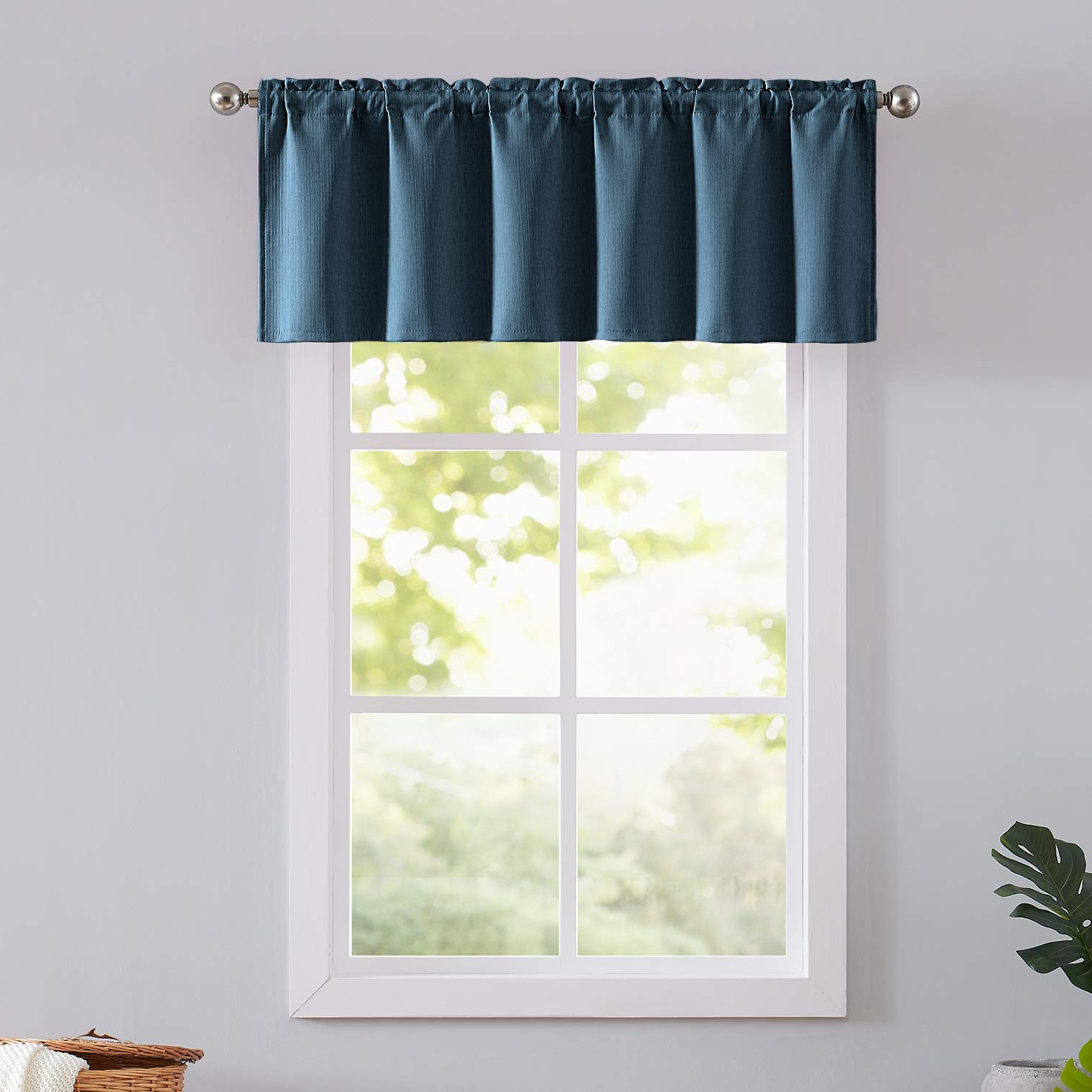 "Natwin Blue Valance Window Curtain For Bedroom 18"" Blue Valance For Kitchen Window Rod Pocket 52"" Width 1 Panel Pertaining To Most Recent Modern Subtle Texture Solid White Kitchen Curtain Parts With Grommets Tier And Valance Options (View 16 of 20)"
