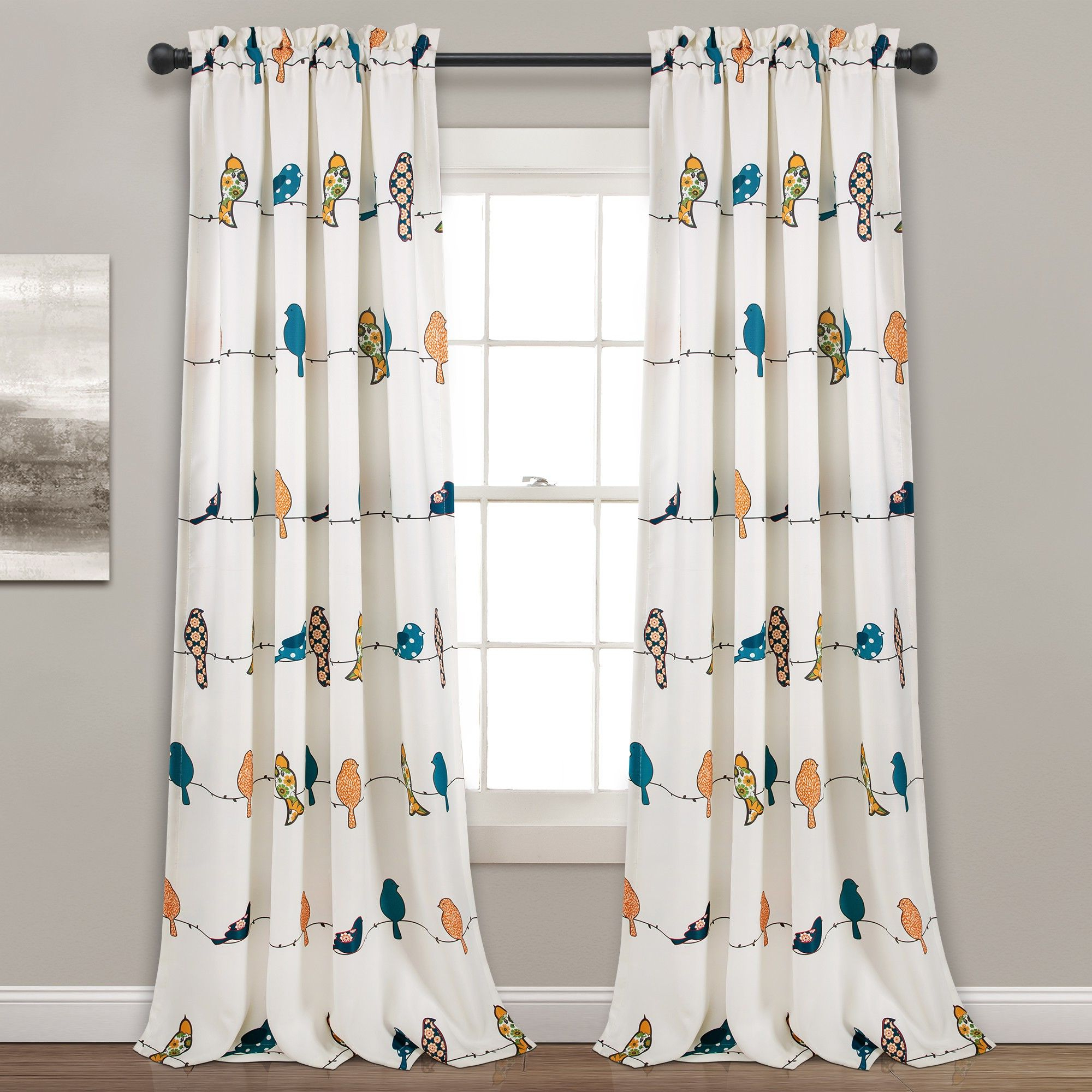 "Newest 95"" X 52"" Rowley Birds Room Darkening Window Curtain – Lush For Rowley Birds Valances (View 11 of 20)"