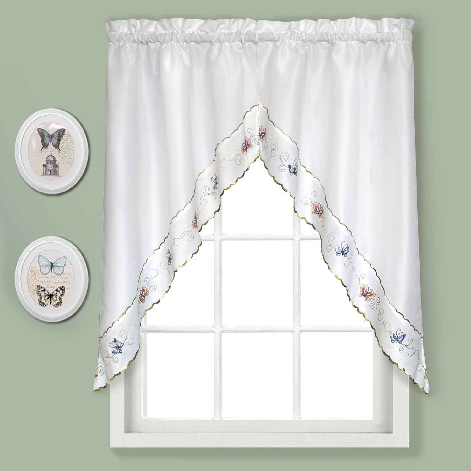 Newest Amazon: United Curtain Butterfly Embroidered Swags, 60 In Fluttering Butterfly White Embroidered Tier, Swag, Or Valance Kitchen Curtains (View 19 of 20)
