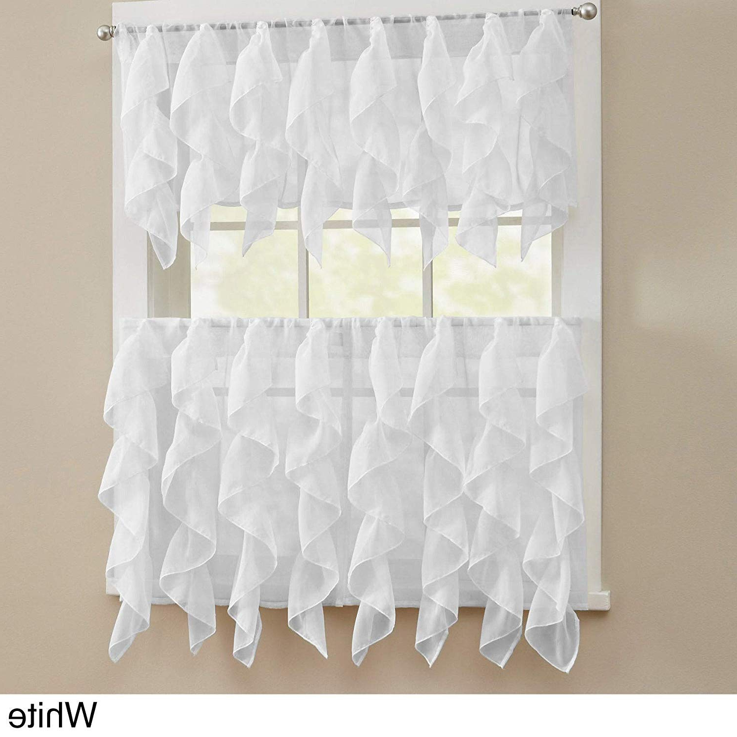Newest Bed Bath N More Chic Sheer Voile Vertical Ruffled Tier Window Curtain Valance And Tier White 56 X 12 Intended For Vertical Ruffled Waterfall Valances And Curtain Tiers (View 11 of 20)