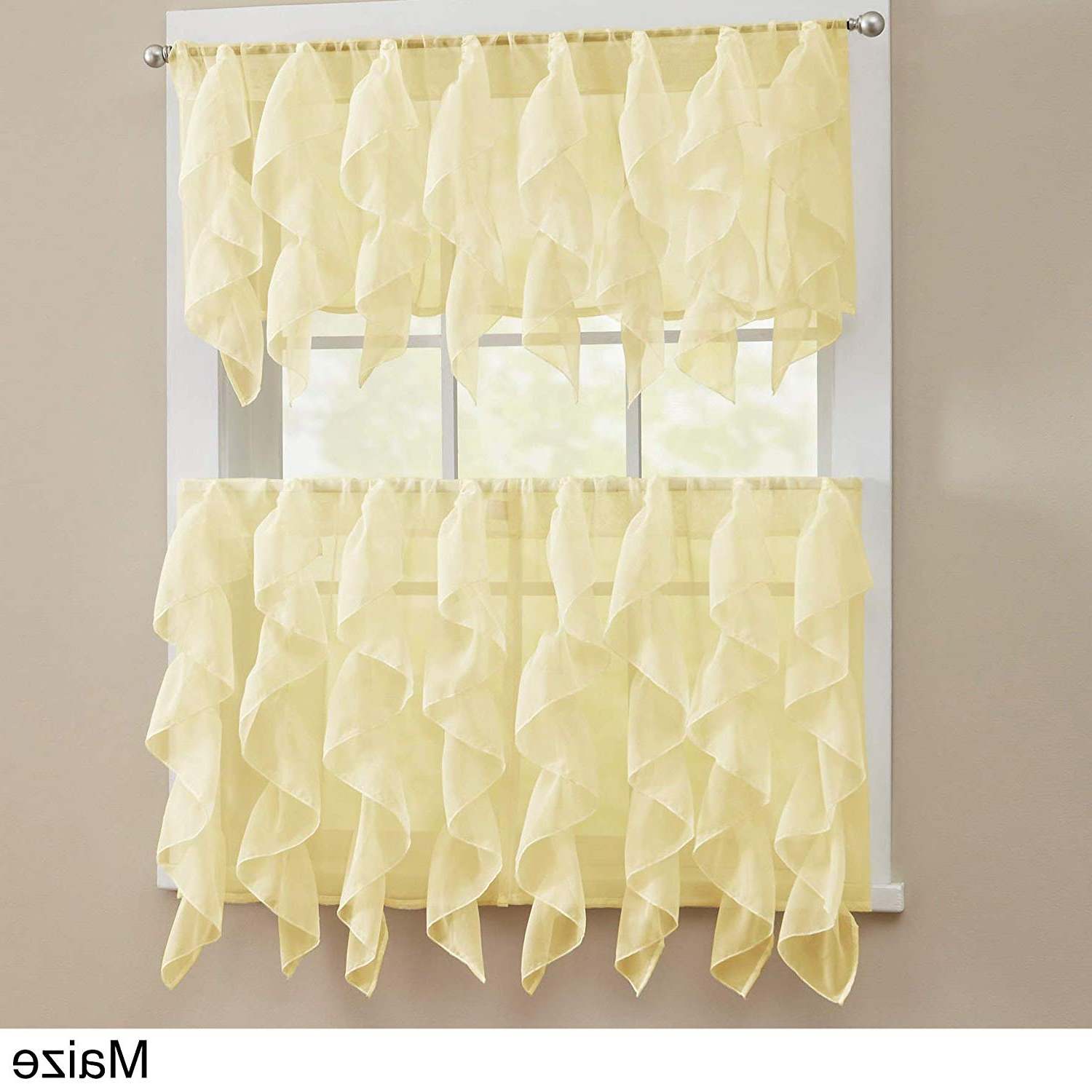 Newest Bed Bath N More Chic Sheer Voile Vertical Ruffled Tier Window Curtain Valance And Tier White 56 X 12 With Regard To Maize Vertical Ruffled Waterfall Valance And Curtain Tiers (View 12 of 20)