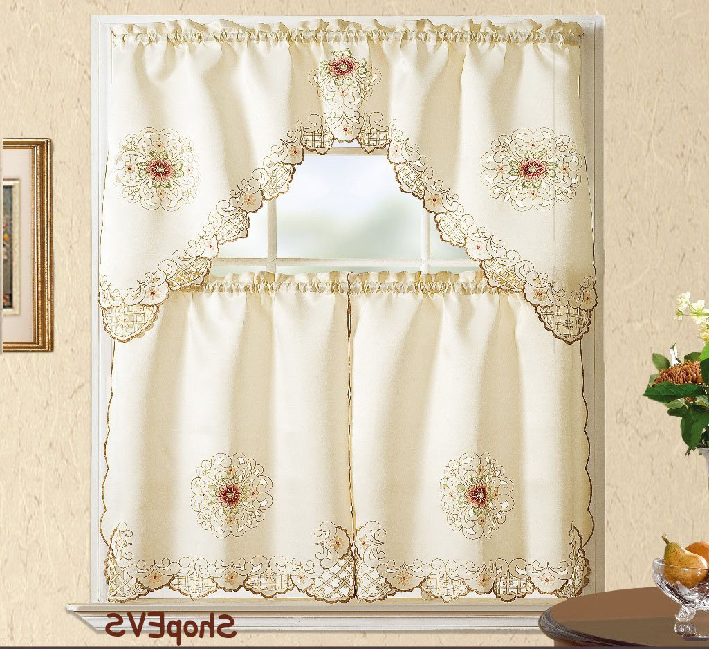Newest Chardonnay Tier And Swag Kitchen Curtain Sets Inside Amazon: Shirley Kitchen Curtain With Swag And Tier Set (View 6 of 20)