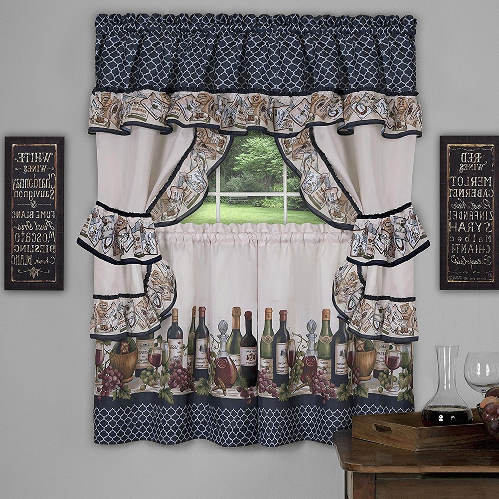 Newest Chateau 3 Piece Kitchen Curtain Valance & Tiers Cottage Set, Navy, 57x36 Inches In Chardonnay Tier And Swag Kitchen Curtain Sets (View 9 of 20)
