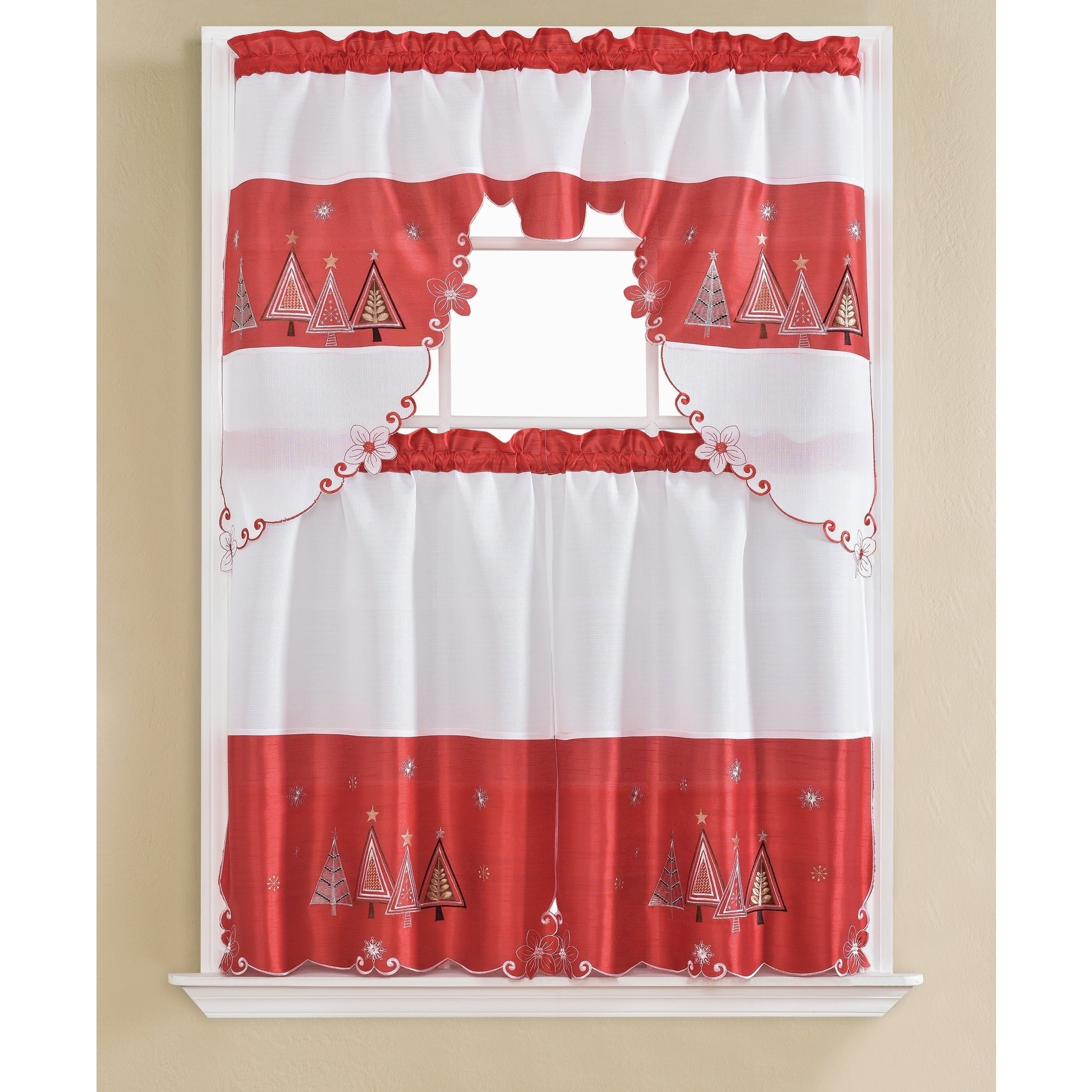 Newest Chateau Wines Cottage Kitchen Curtain Tier And Valance Sets With Christmas Tree Embroidered Tier And Swag Kitchen Curtain Set – 60 X 36 In (View 10 of 20)
