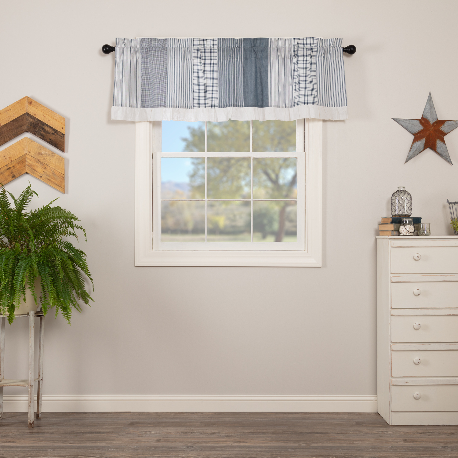 Newest Denim Blue Farmhouse Kitchen Curtains Miller Farm Charcoal Patchwork Rod  Pocket Cotton Hanging Loops Chambray 19X60 Valance Throughout Farmhouse Kitchen Curtains (View 15 of 20)